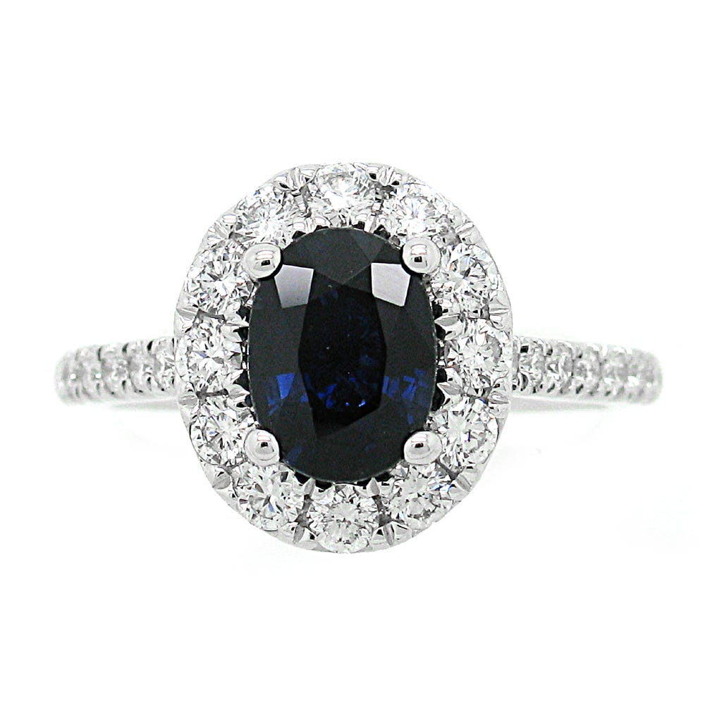 Oval Sapphire & Diamond Halo Engagement Ring in 14k White Gold