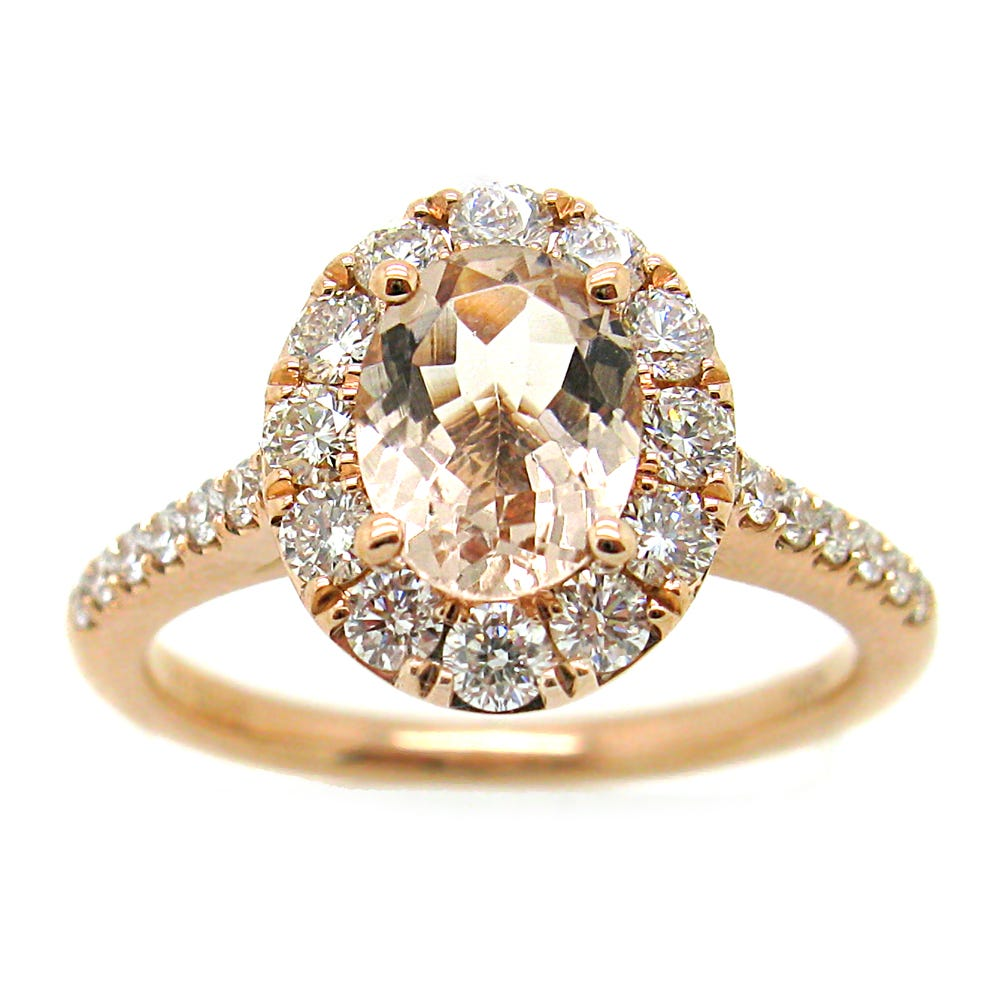 Oval Morganite & Diamond Halo Engagement Ring in 14k Rose Gold