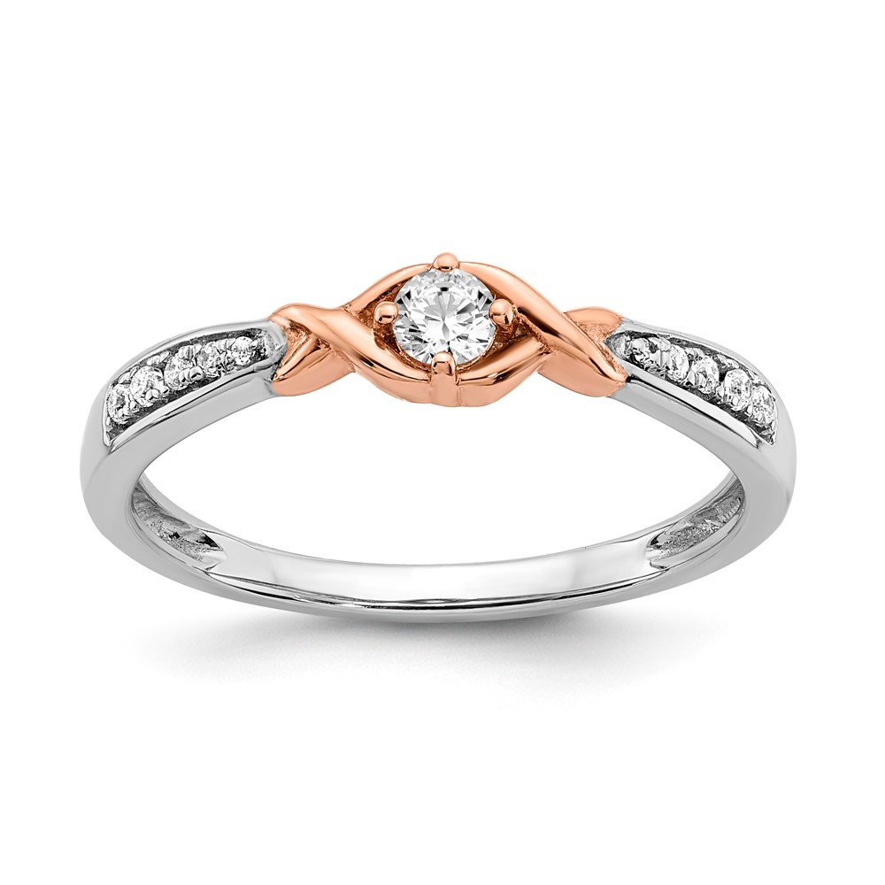 Twist Diamond Promise Ring in 10k White & Rose Gold