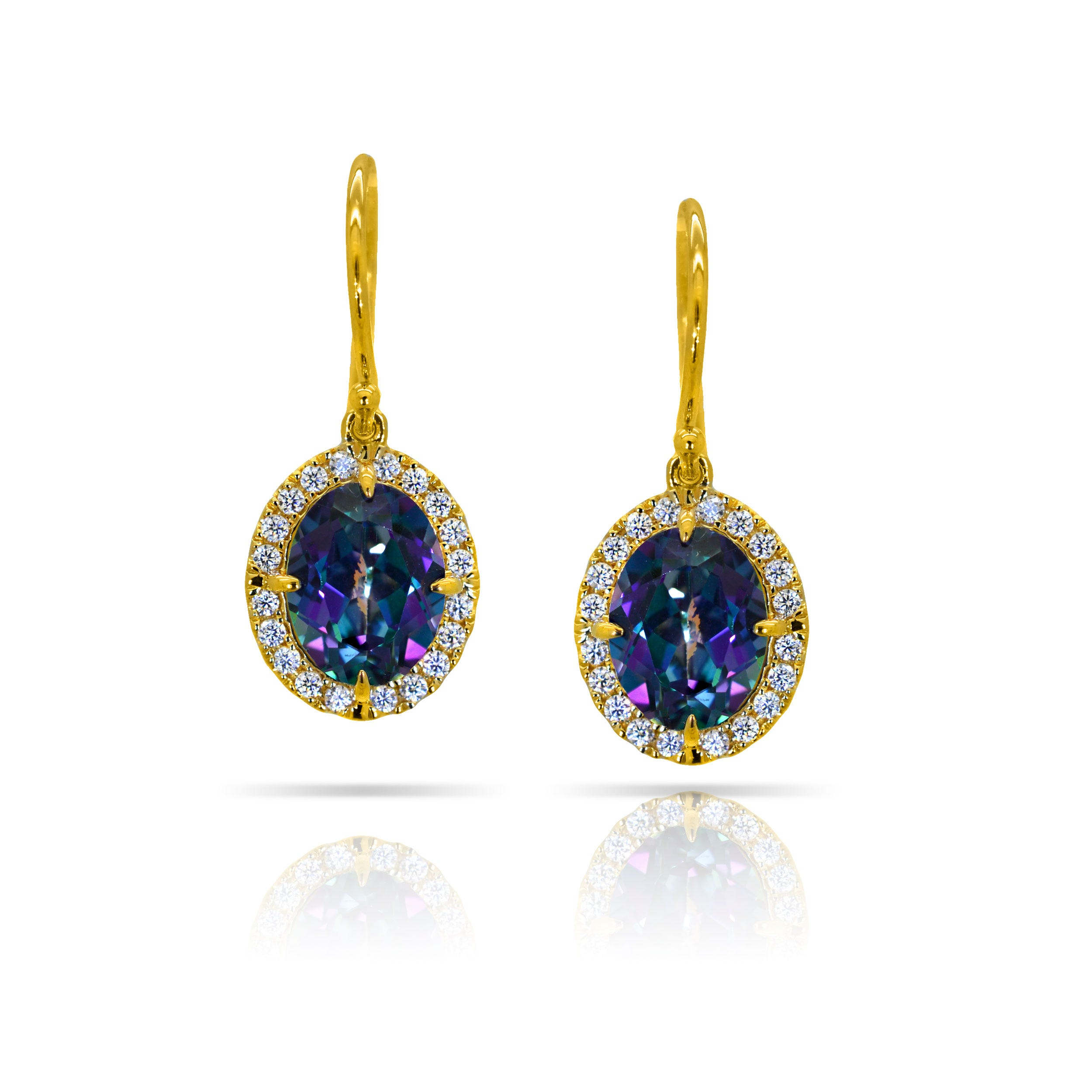 Blessed Oval Blue Topaz & Diamond Earrings in 10k Yellow Gold