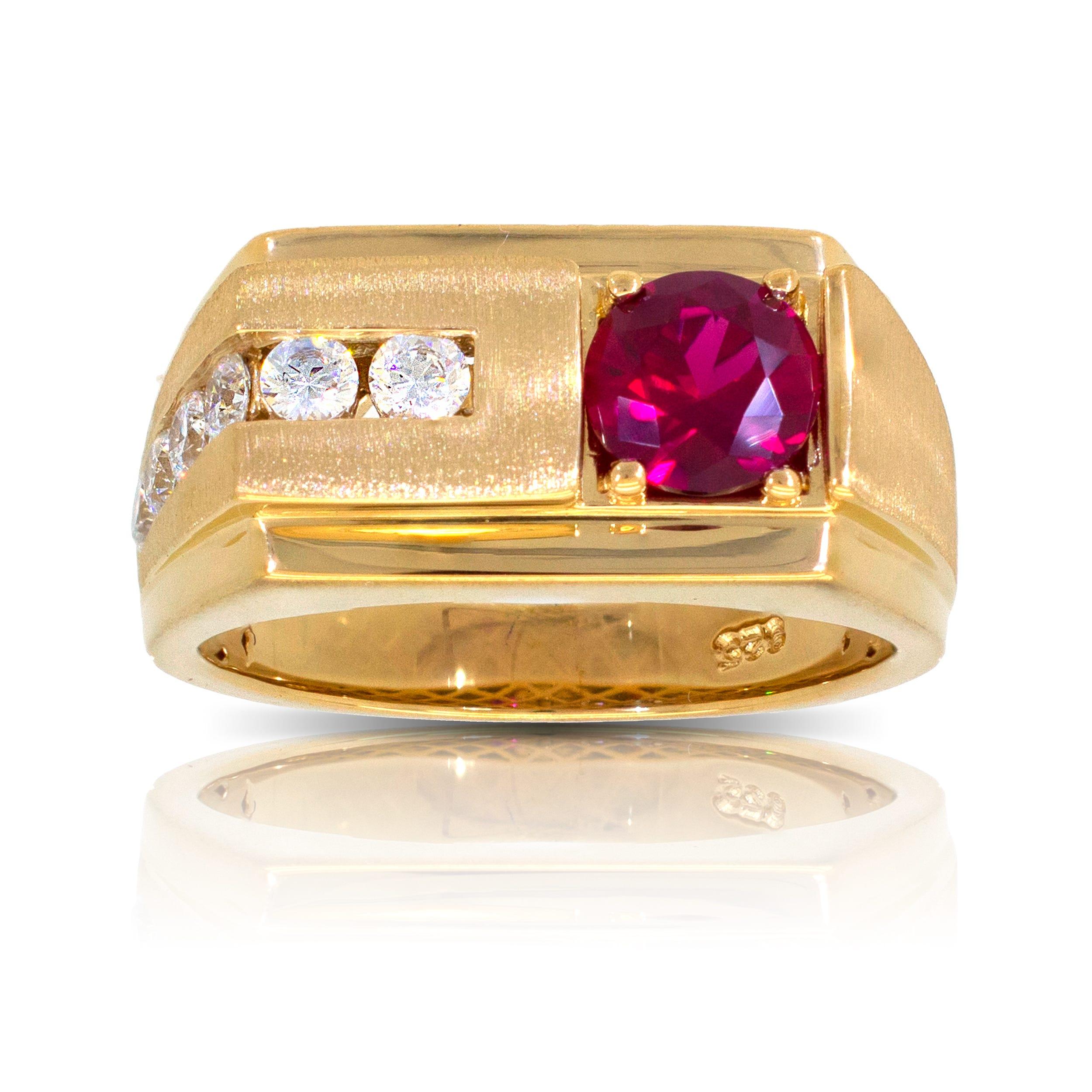 Men's Round Created Ruby & Diamond Ring in 10k Yellow Gold
