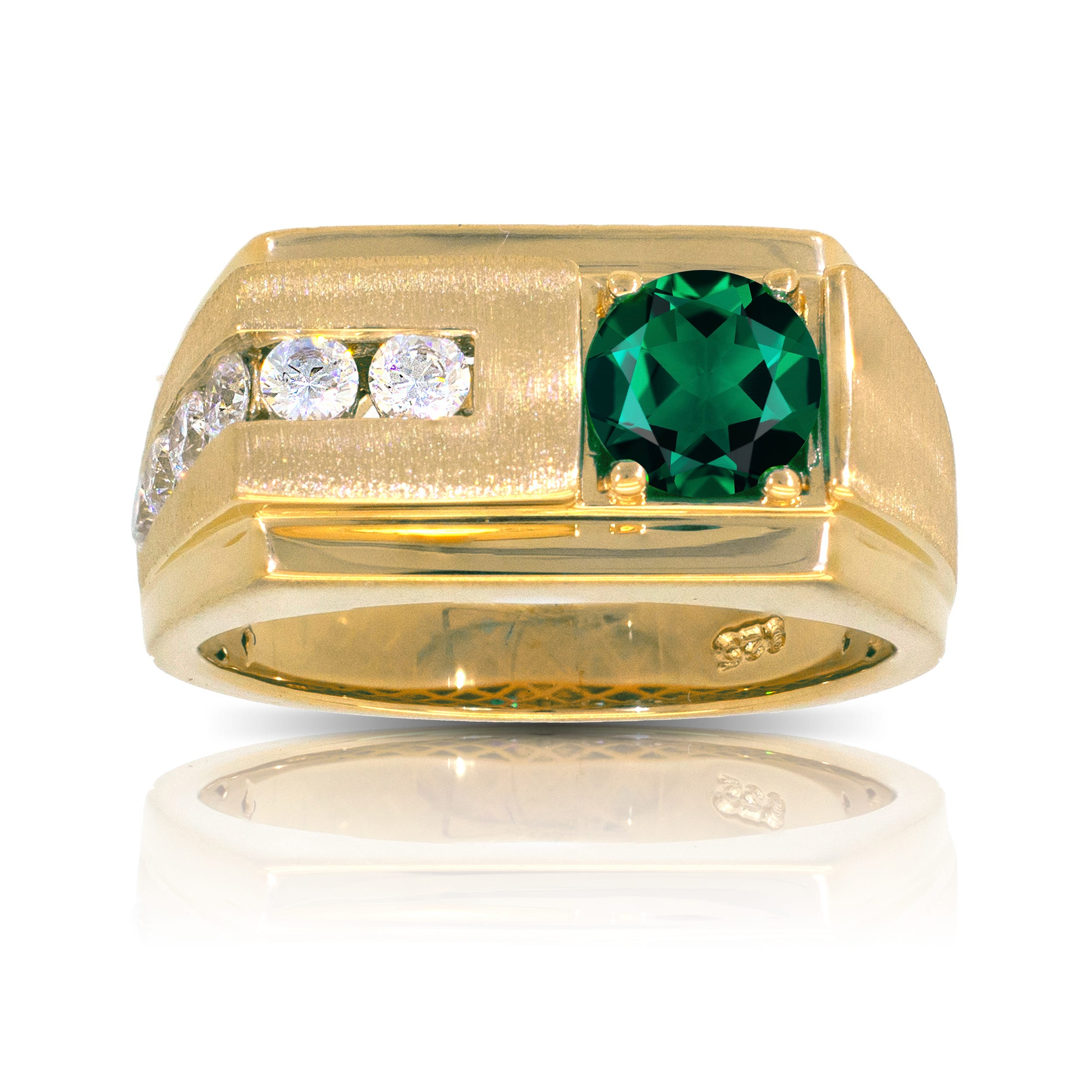 Men's Round Created Emerald & Diamond Ring in 10k Yellow Gold