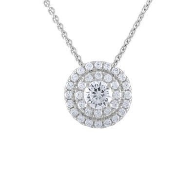 Lab-Crafted Diamond Double Halo Pendant in 14k White Gold