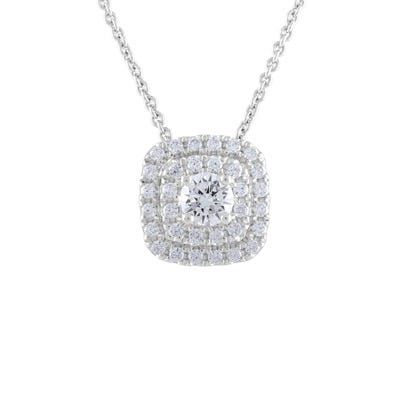 Lab Grown 5/8ct. Diamond Cushion Halo Pendant in 14k White Gold
