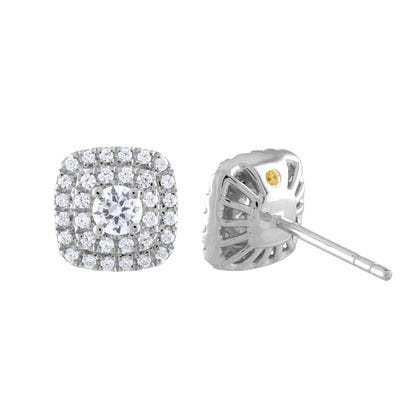 Lab-Crafted Diamond Cushion Halo Stud Earrings in 14k White Gold