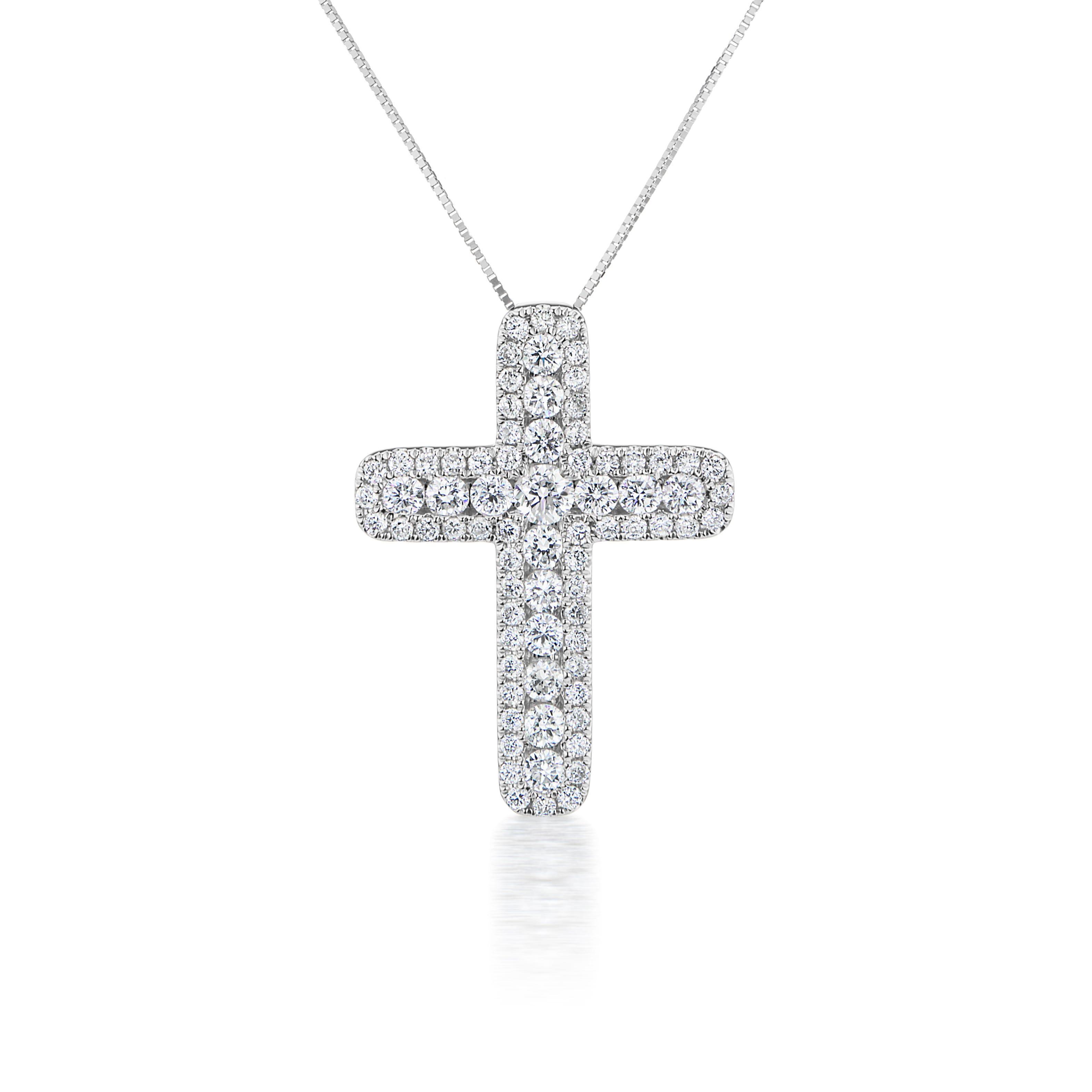 Lab Grown 1ct. Diamond Cross Pendant in 14k White Gold