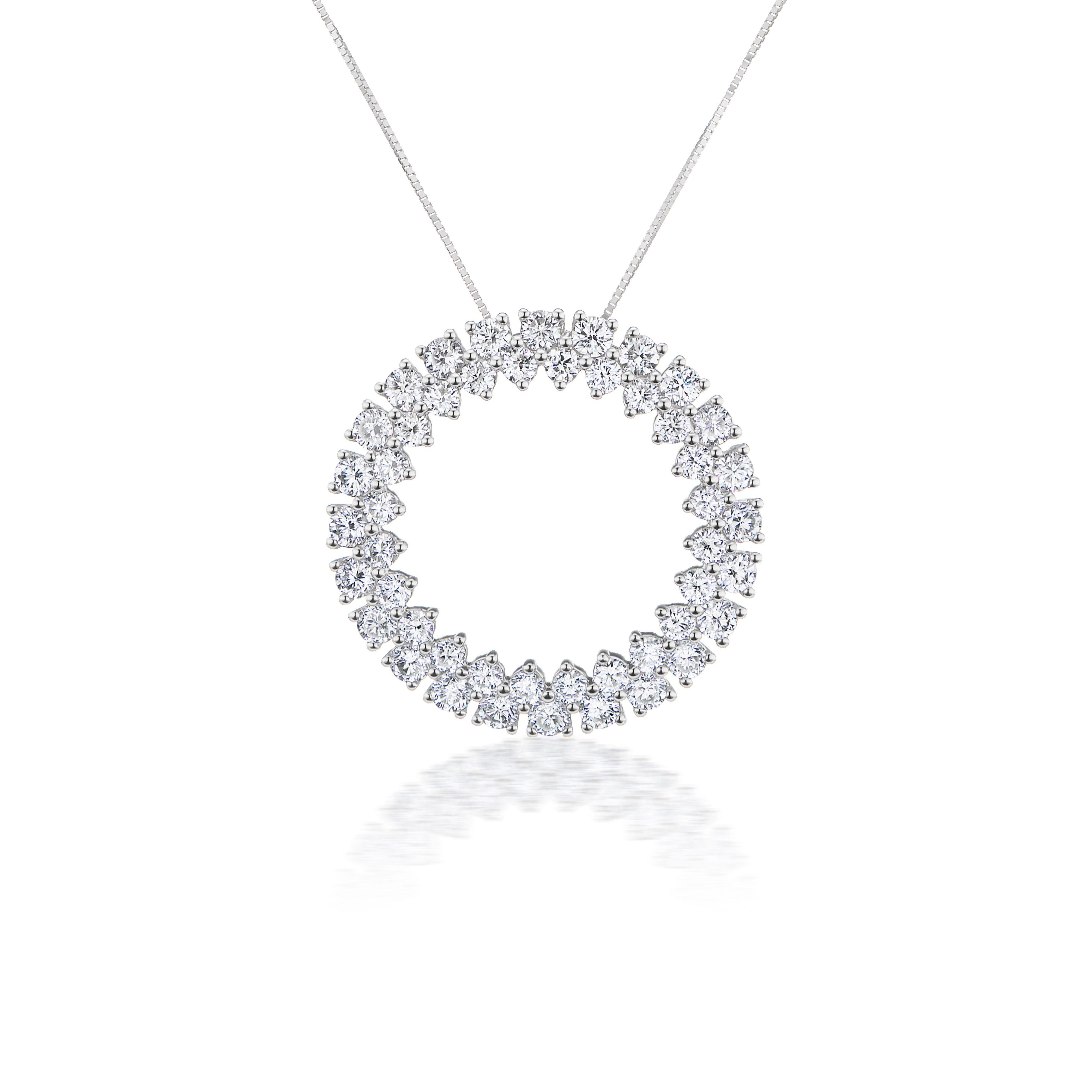 Lab Grown 2ct. Diamond Fancy Circle Pendant in 14k White Gold