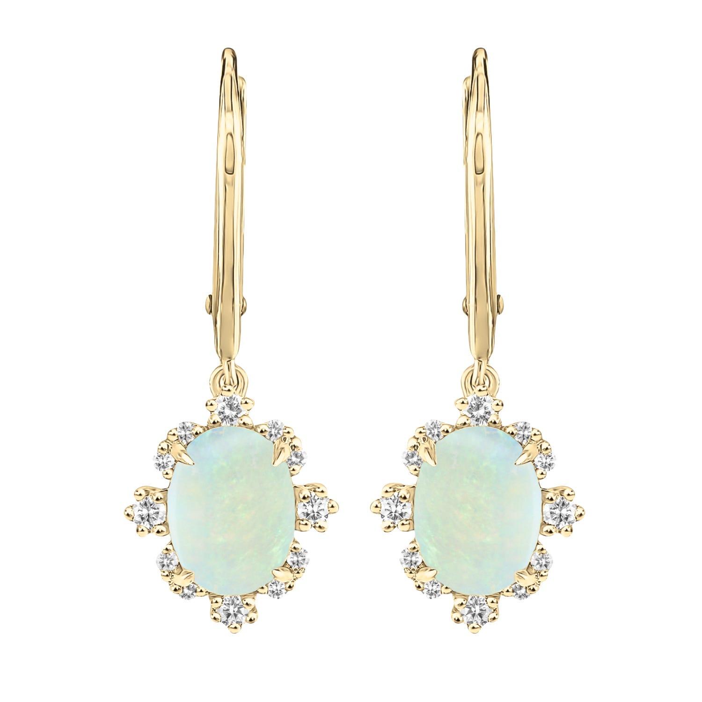 Vintage-Inspired Oval Opal & Diamond Earrings in 10k Yellow Gold