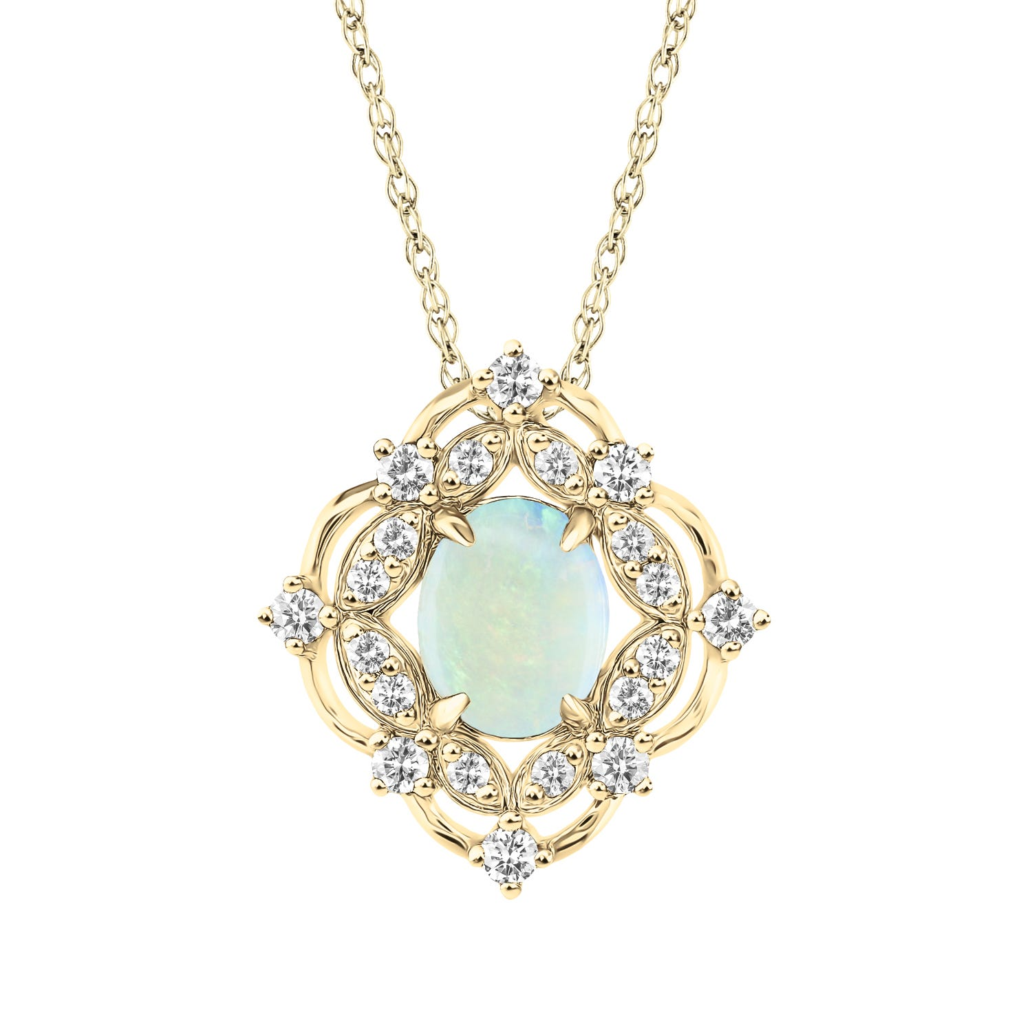 Vintage-Inspired Oval Opal & Diamond Pendant in 10k Yellow Gold