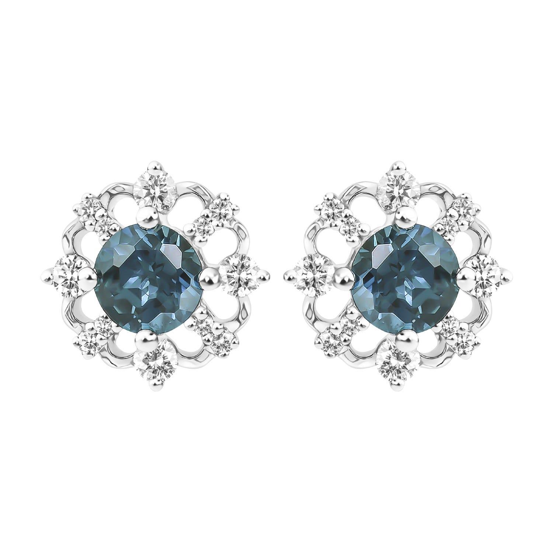 Vintage-Inspired London Blue Topaz Stud Earrings in 10k White Gold