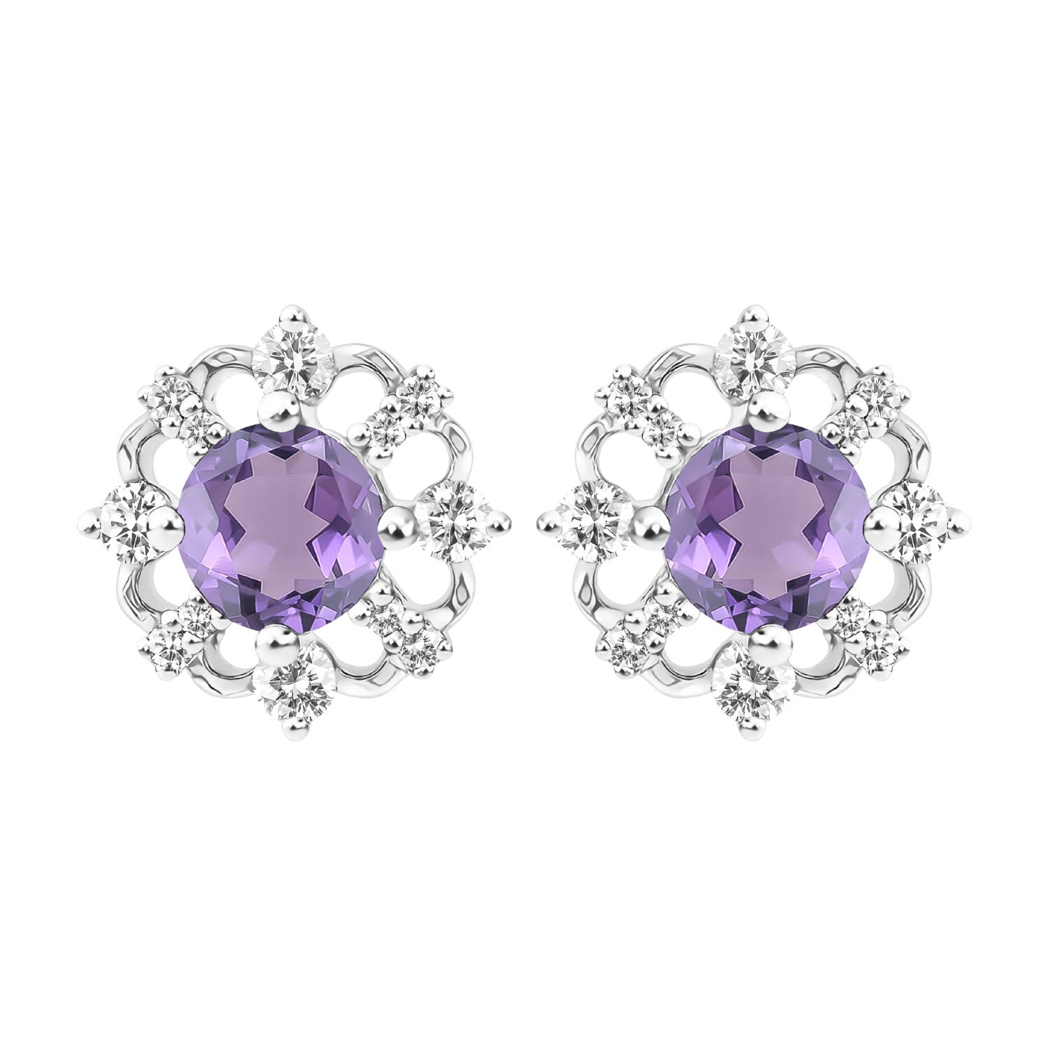 Vintage-Inspired Amethyst Stud Earrings in 10k White Gold