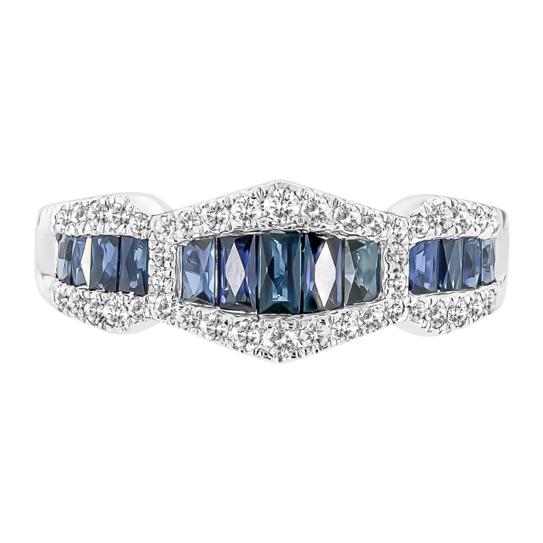 Baguette Sapphire & Diamond Ring in 10k White Gold