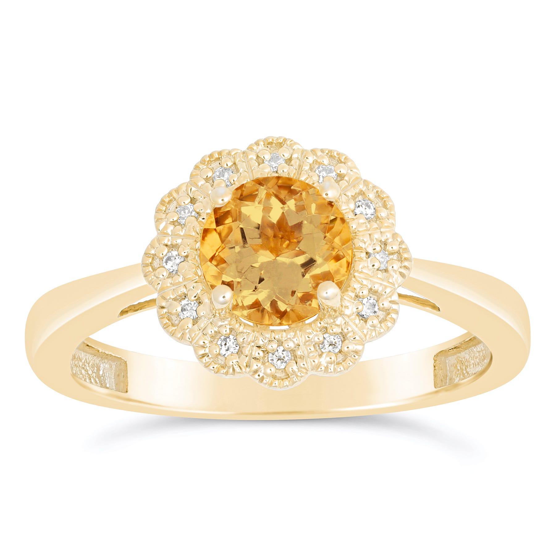 Citrine & Diamond Flower Ring in 10k Yellow Gold