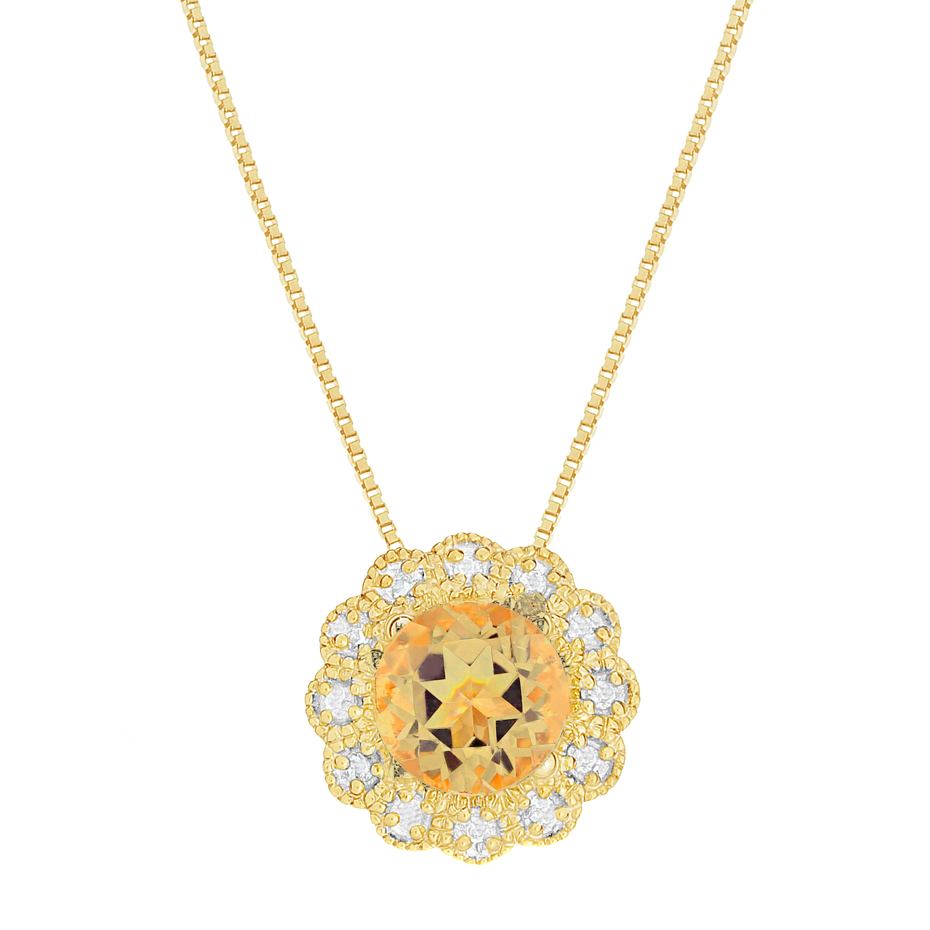 Citrine & Diamond Flower Pendant in 10k Yellow Gold