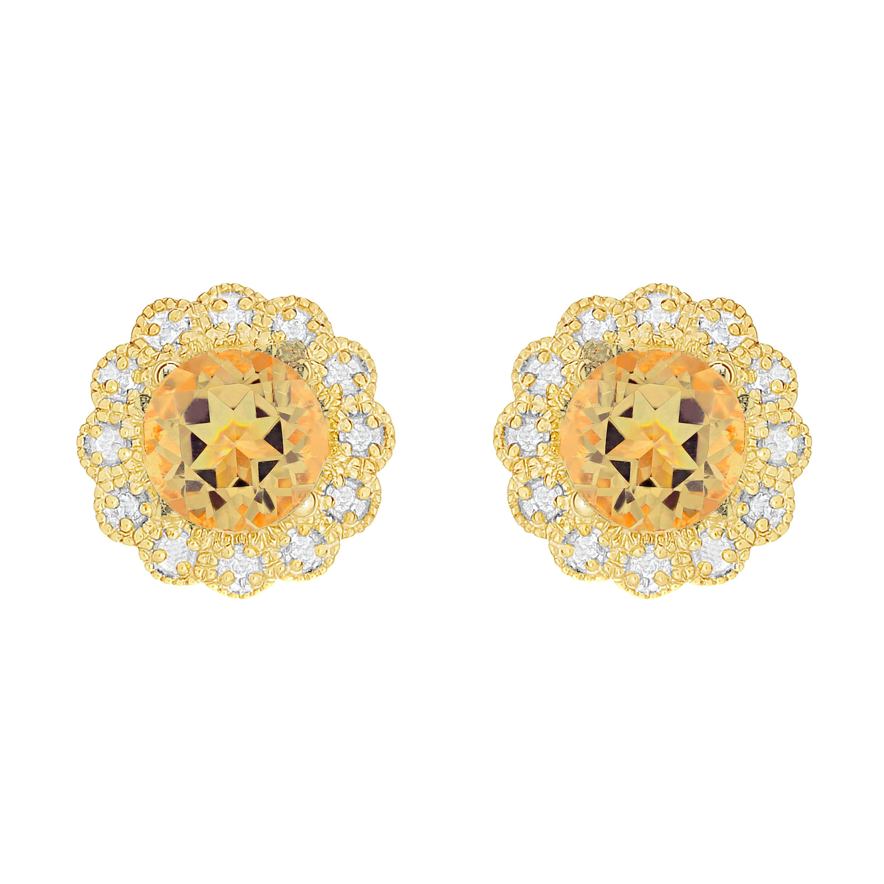 Citrine & Diamond Flower Earrings in 10k Yellow Gold