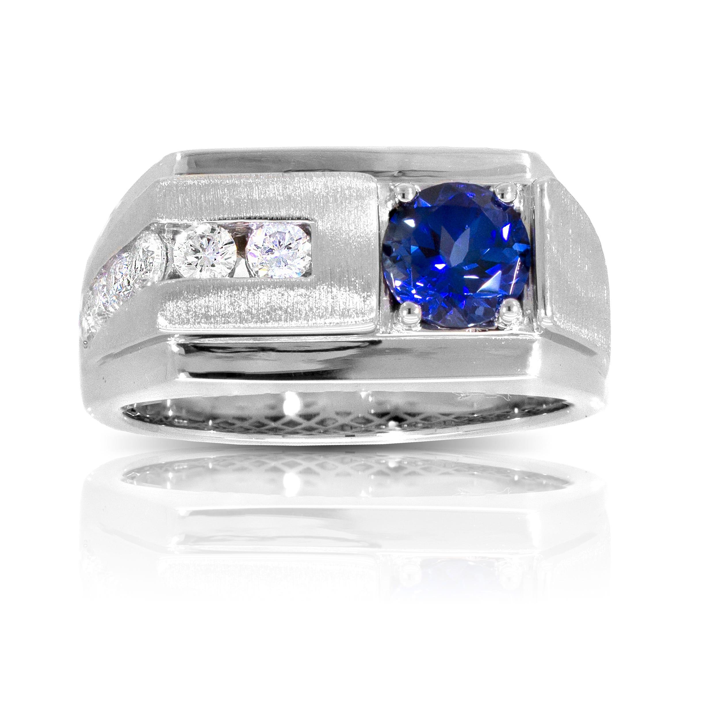 Men's Round Created Sapphire & Diamond Ring in 10k White Gold
