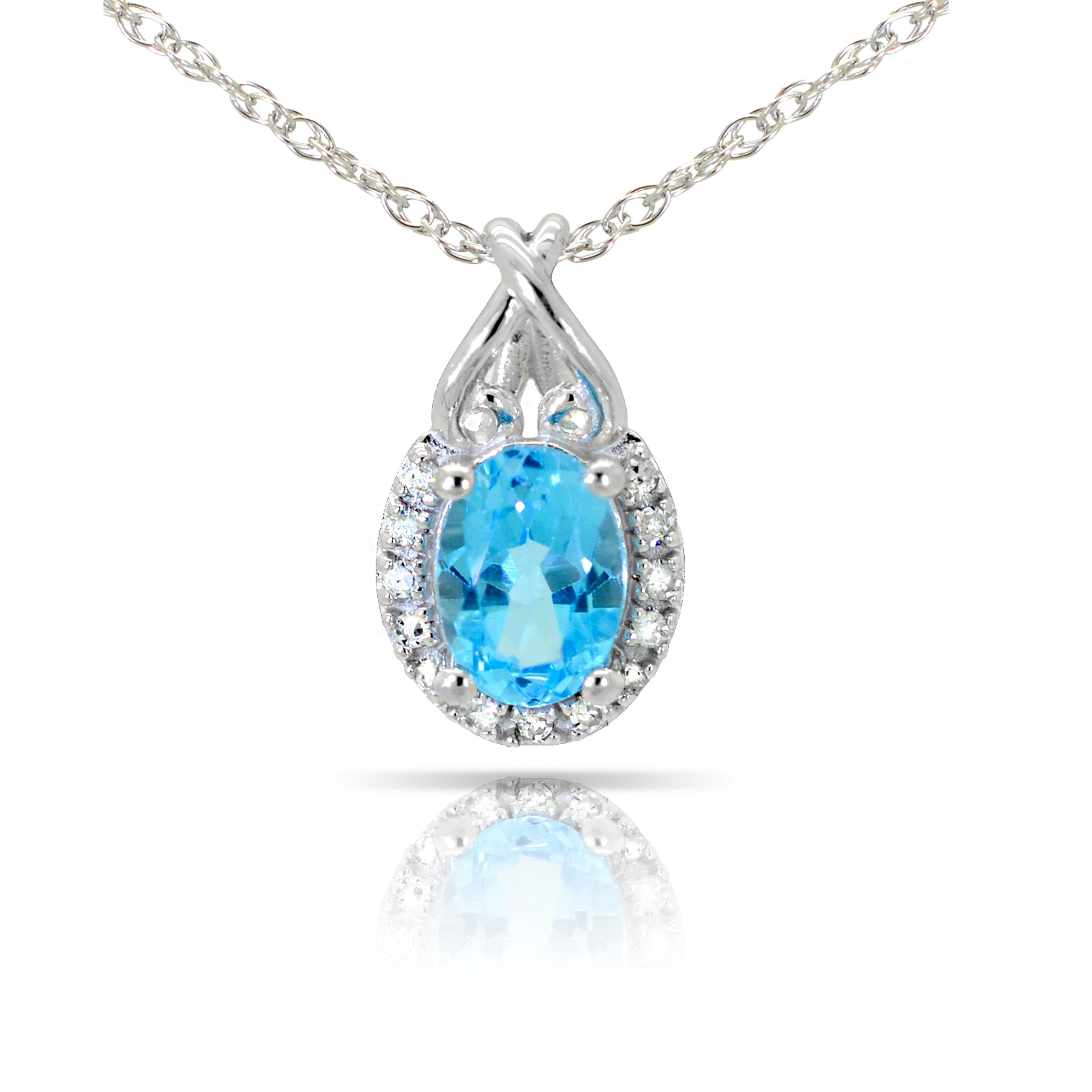 Blue Topaz & Diamond Oval Pendant in 10k White Gold