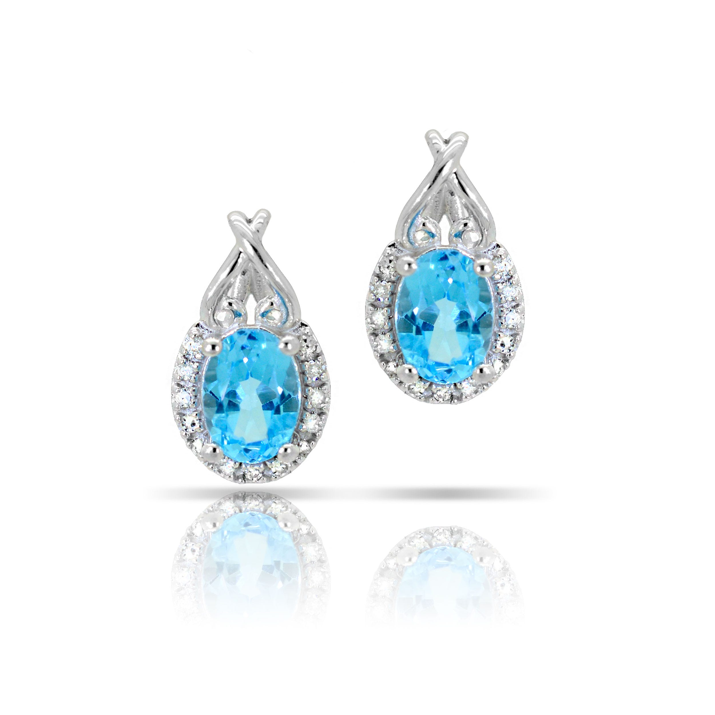 Blue Topaz & Diamond Oval Earrings in 10k White Gold