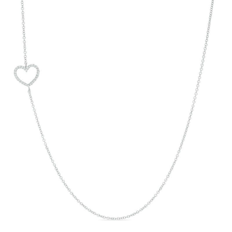 Diamond Heart Necklace 0.07ctw. In 10k White Gold