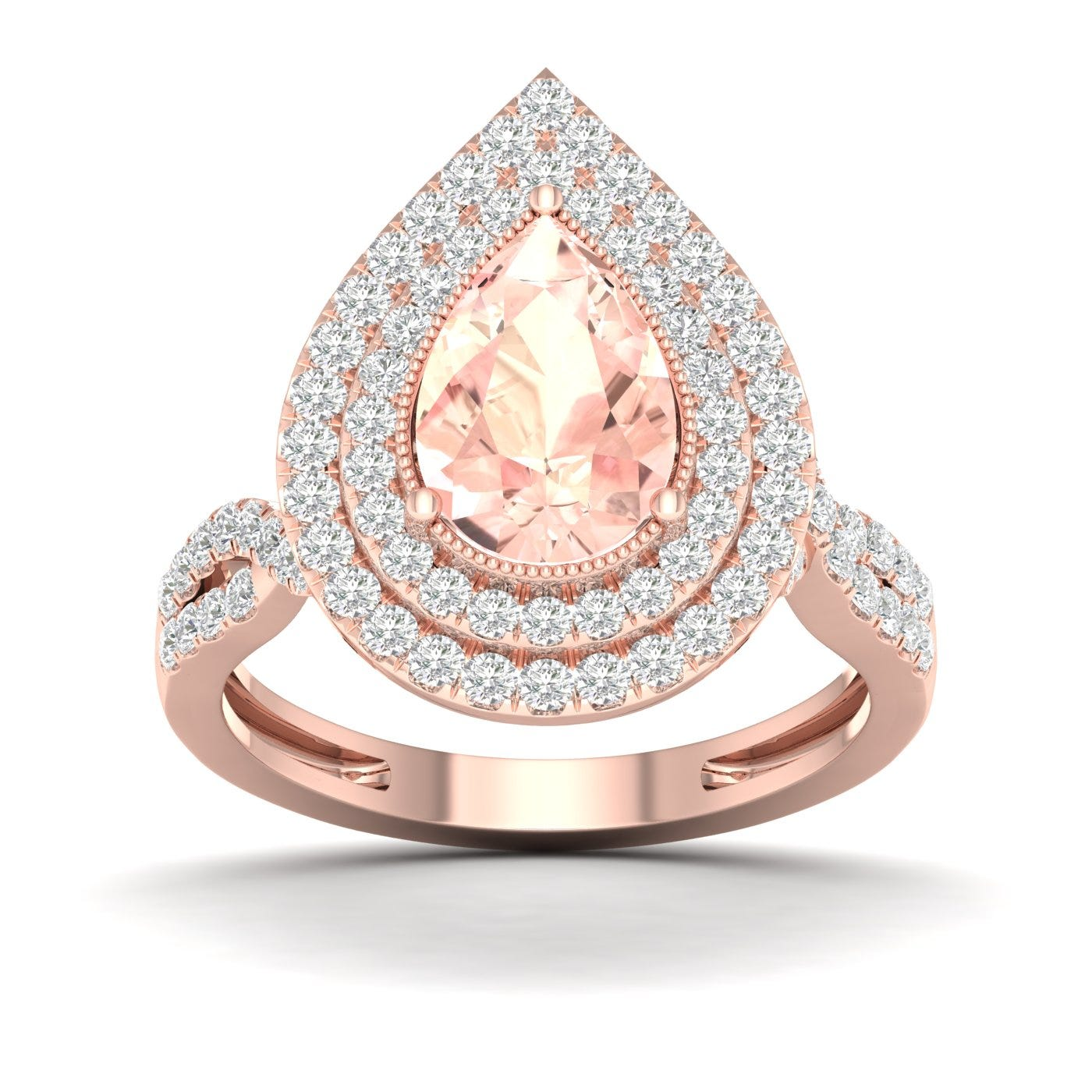 Pear-Shaped Double Halo Morganite Ring in 10k Rose Gold