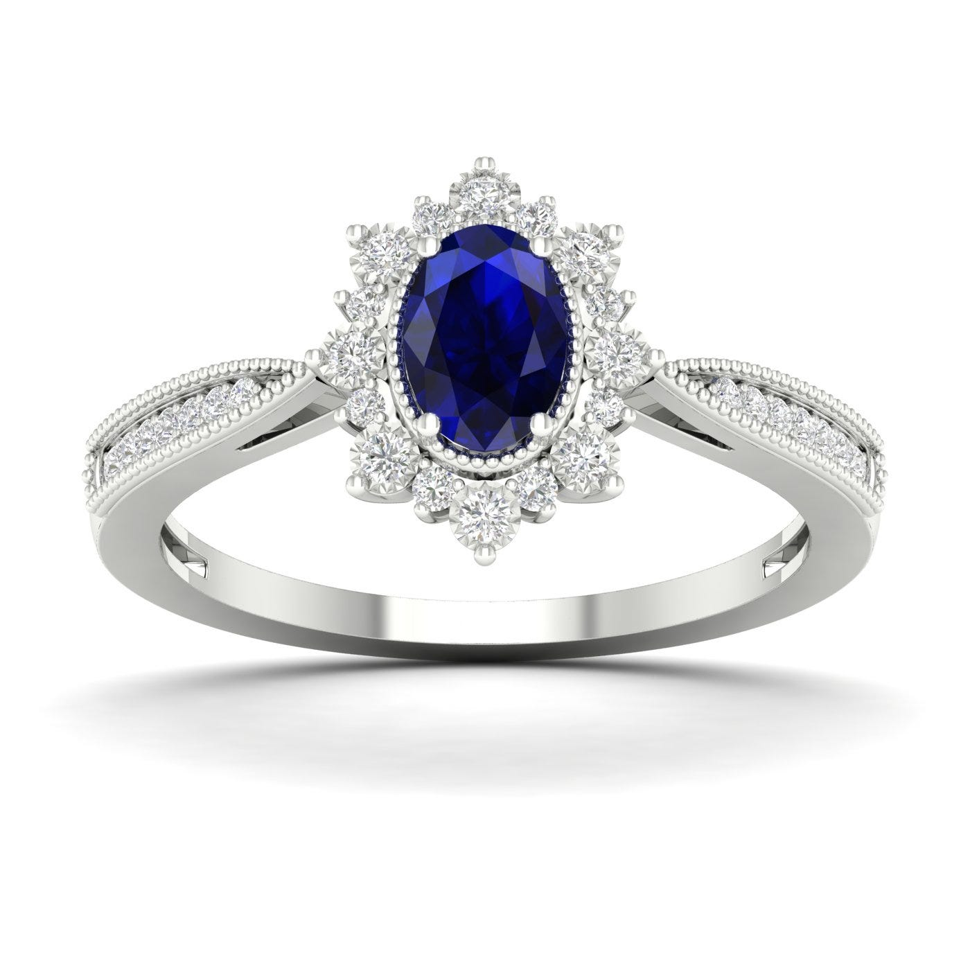 Oval Blue Sapphire Vintage Halo Ring in 10k White Gold