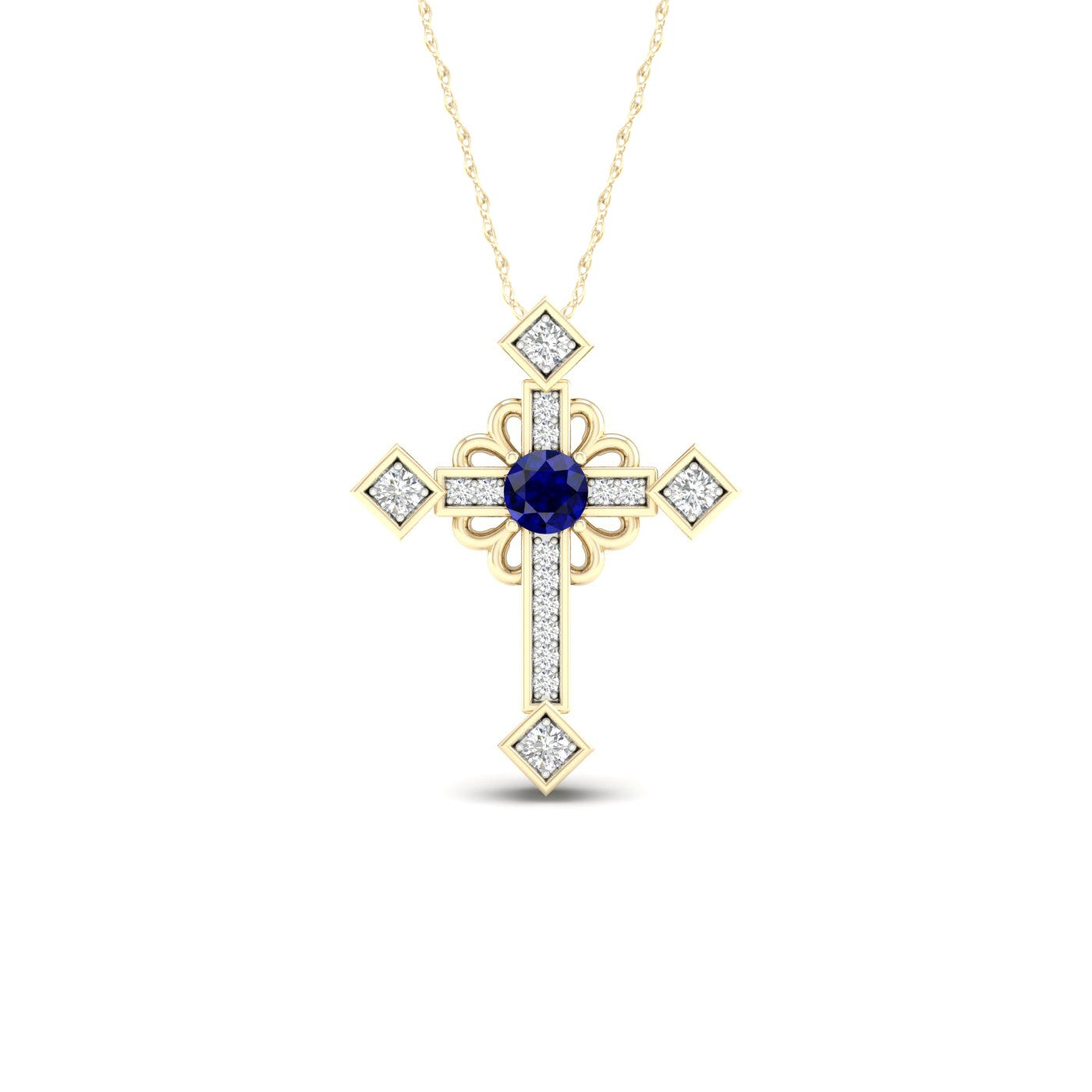 Blue Sapphire & Diamond Cross in 10k Yellow Gold