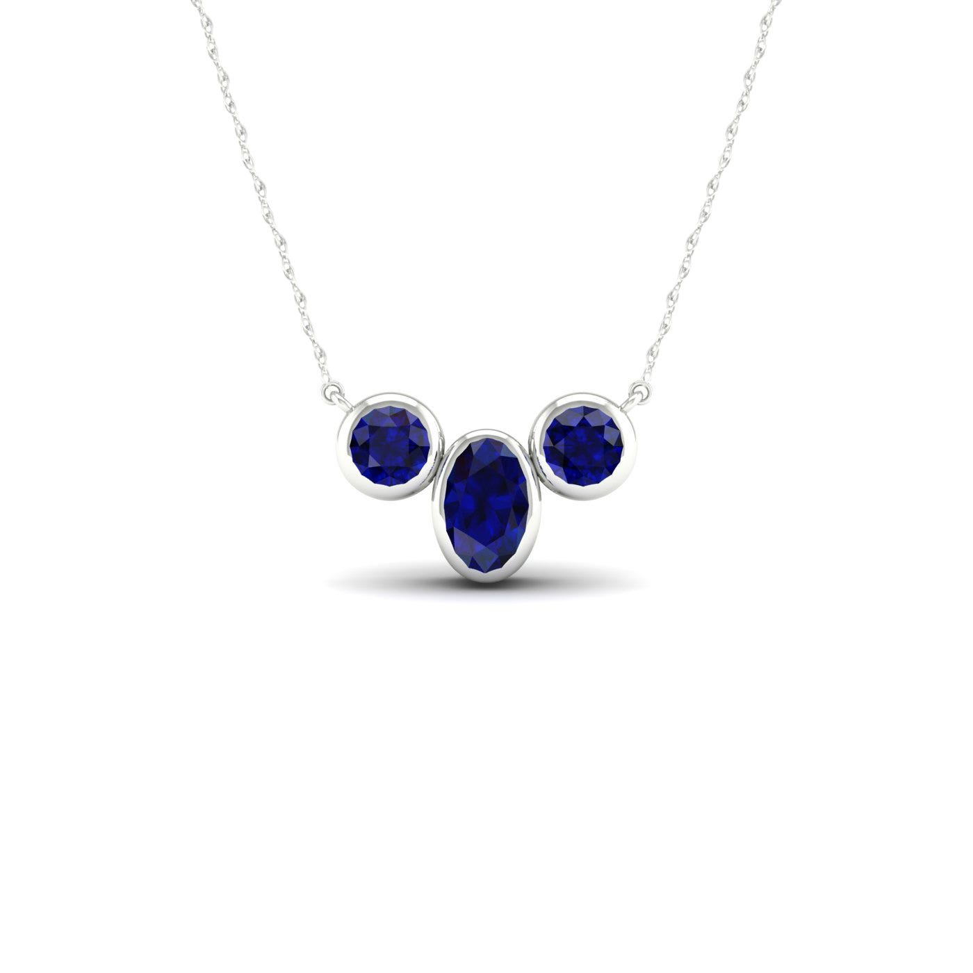 Oval & Round Bezel Blue Sapphire Necklace in 10k White Gold