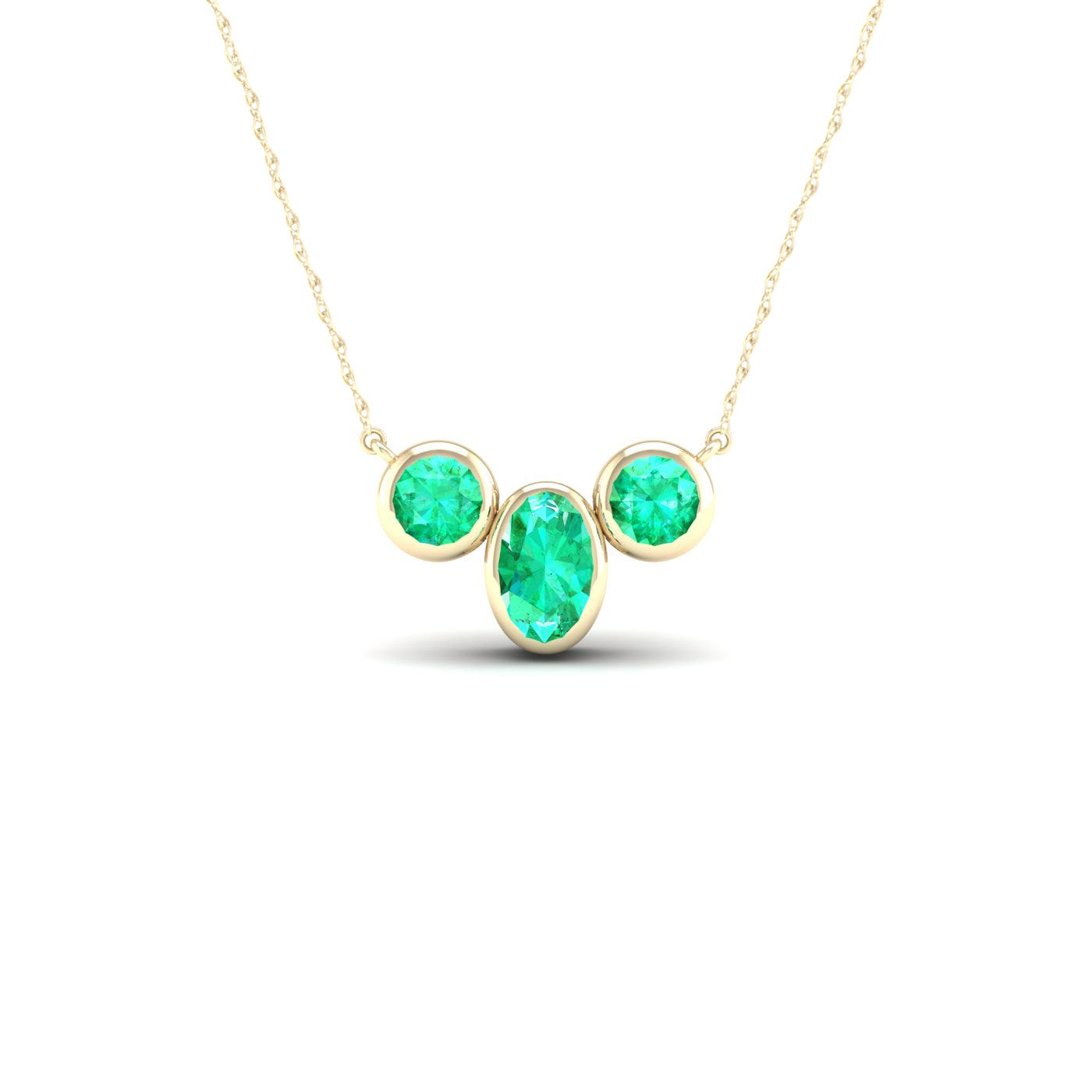 Oval & Round Bezel Emerald Necklace in 10k Yellow Gold