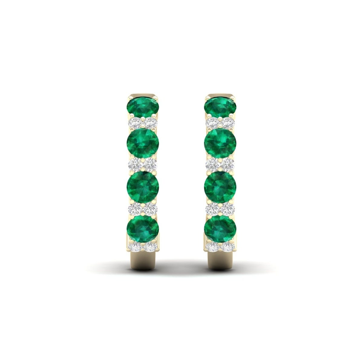 Emerald & Diamond Hoop Earrings in 10k Yellow Gold