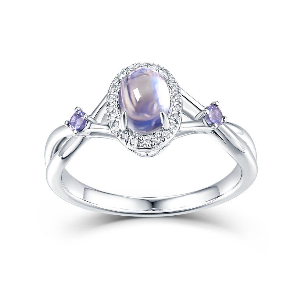 Oval Tanzanite, Moonstone & Diamond Ring in Sterling Silver