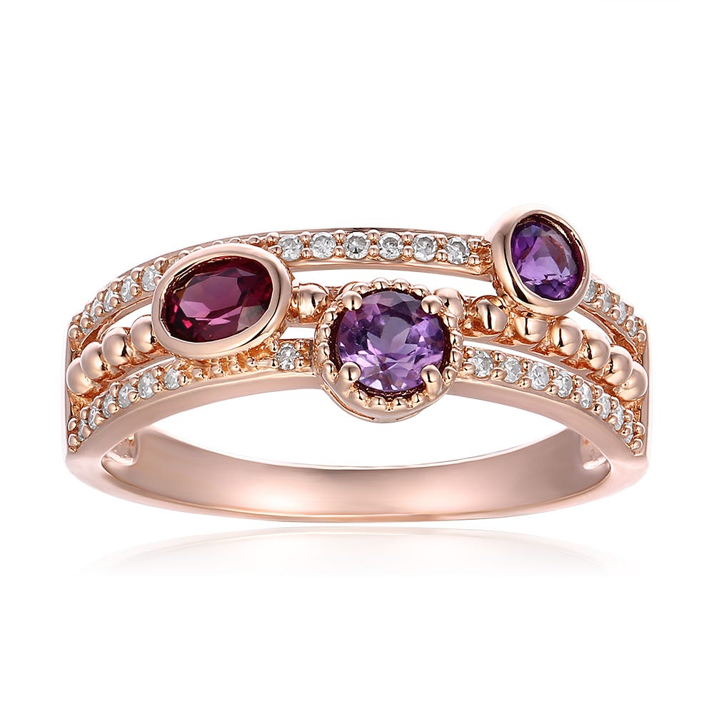 Amethyst & Garnet Three Row Band in 10k Rose Gold