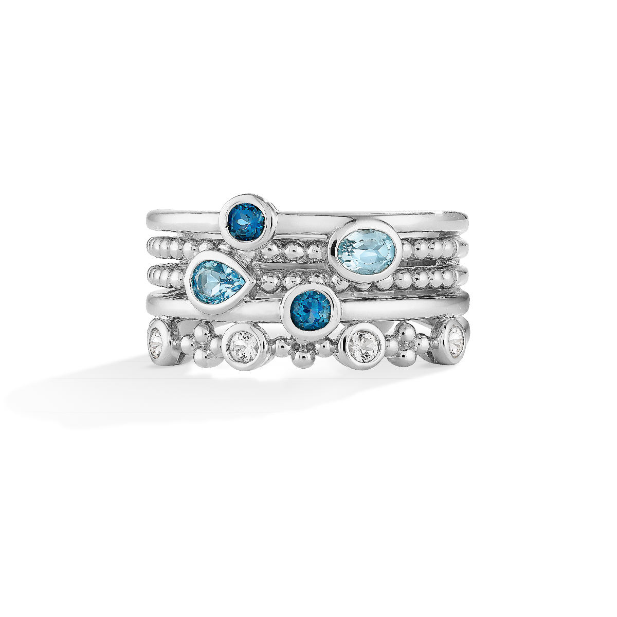 White & Blue Topaz Multi Stack Band in Sterling Silver