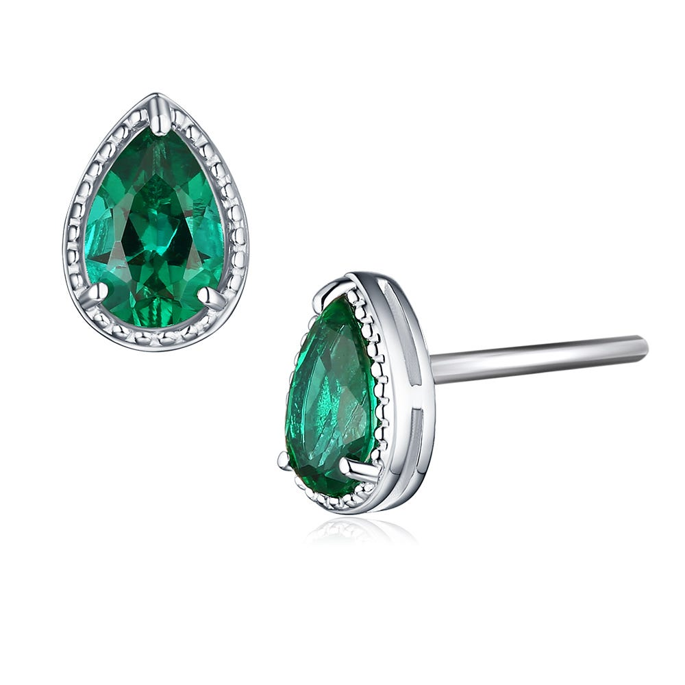 Pear Shaped Created Emerald Stud Earrings in Sterling Silver