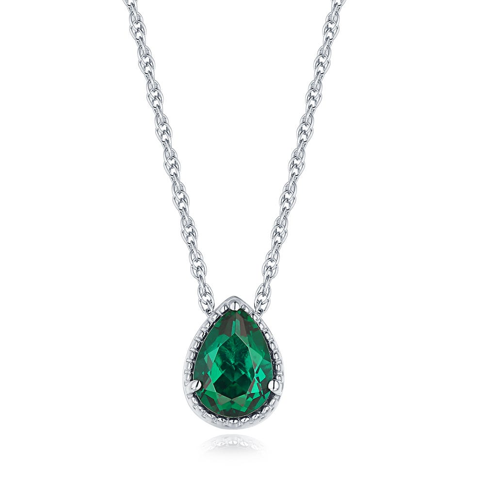 Pear Shaped Created Emerald Pendant in Sterling Silver