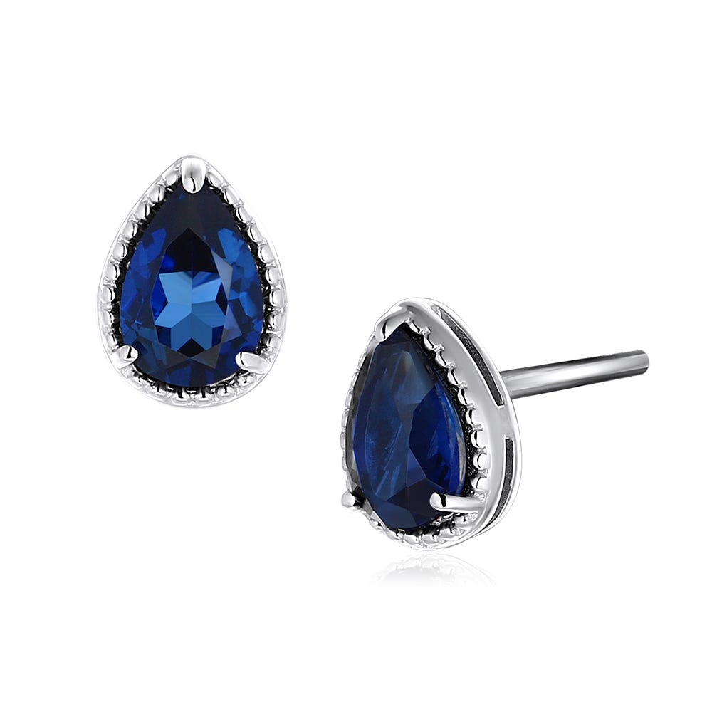 Pear Shaped Created Blue Sapphire Stud Earrings in Sterling Silver