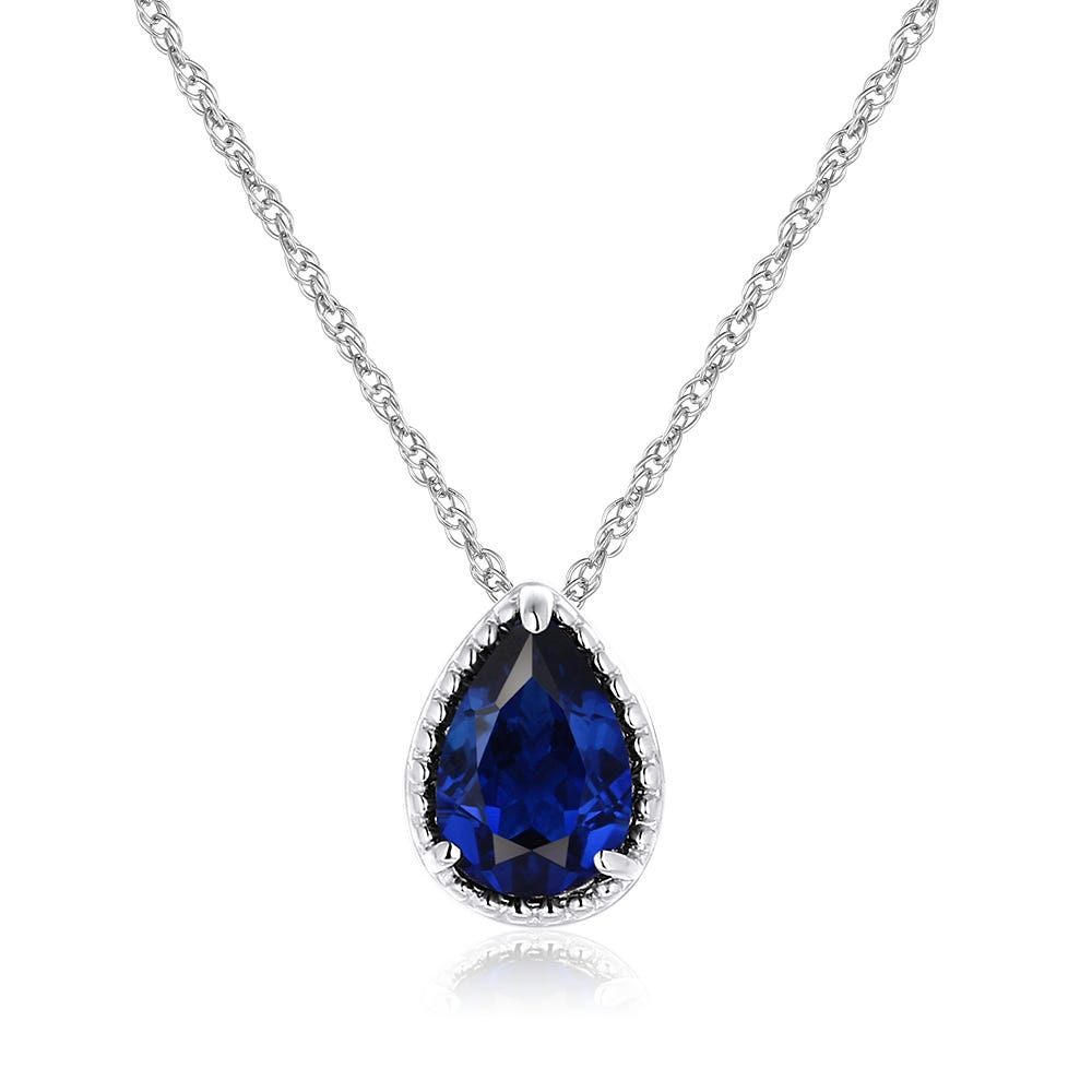 Pear Shaped Created Blue Sapphire Pendant in Sterling Silver