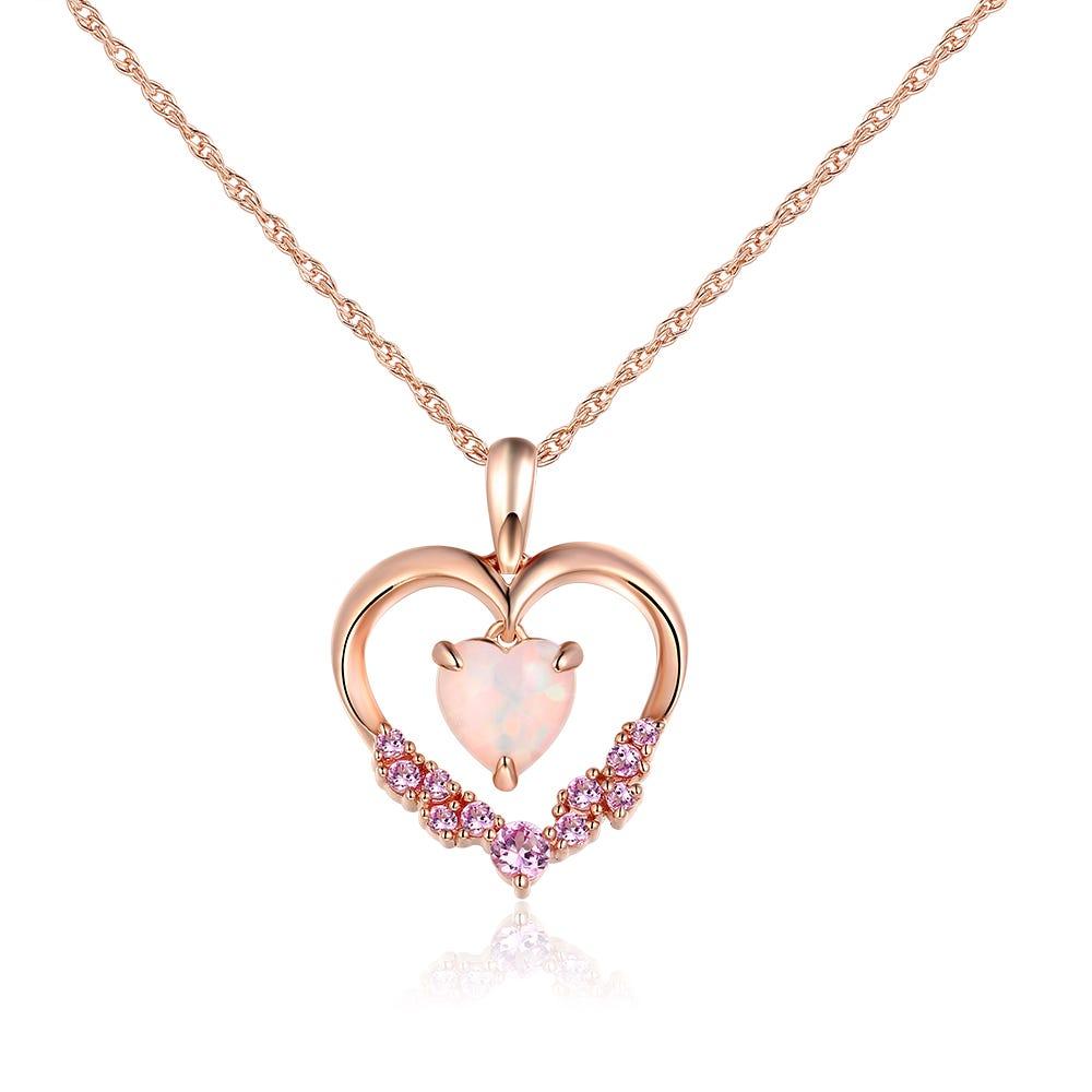 Heart Created Opal & Pink Sapphire Pendant