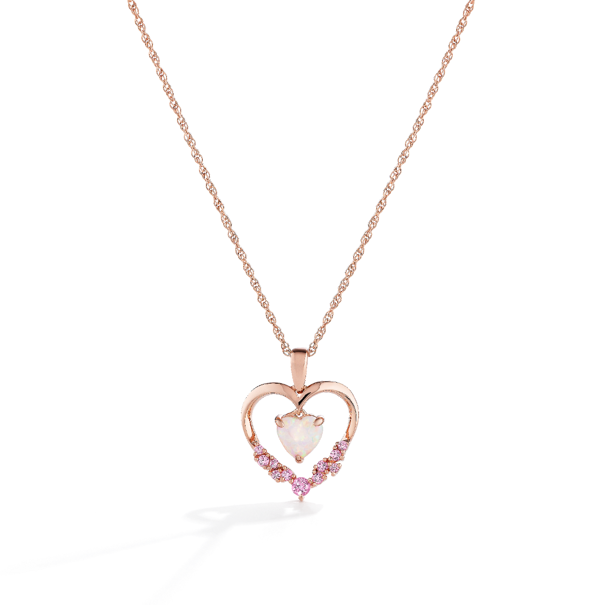 Heart Created Opal & Pink Sapphire Pendant