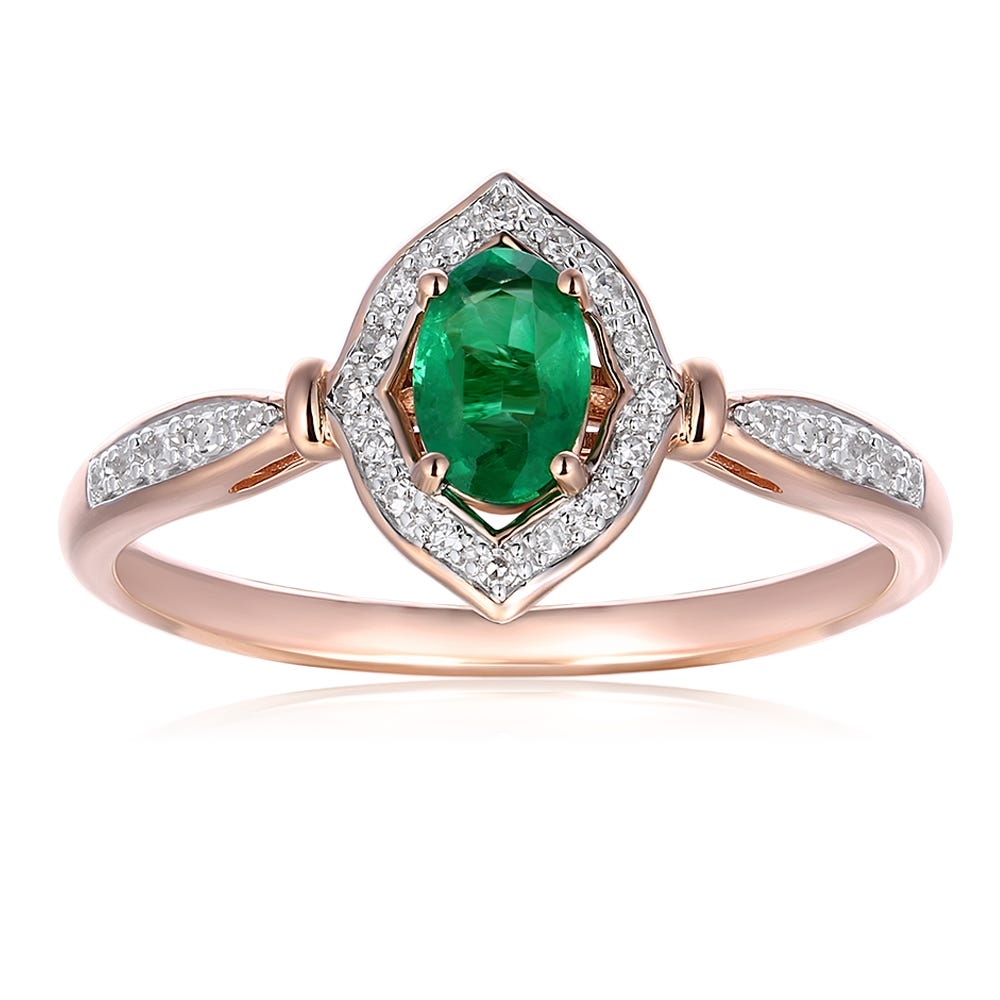 Oval Emerald & Diamond Ring in 10k Rose Gold