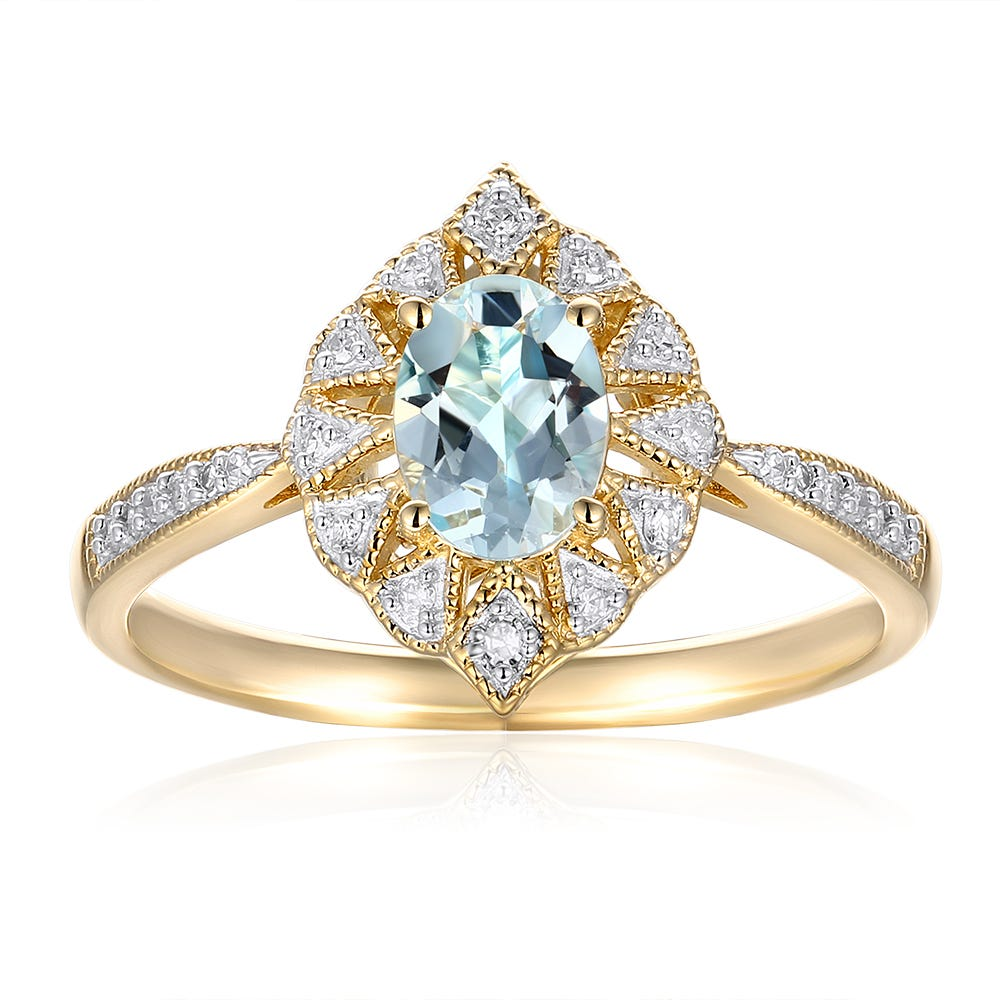 Oval Aquamarine & Diamond Ring in 10k Yellow Gold