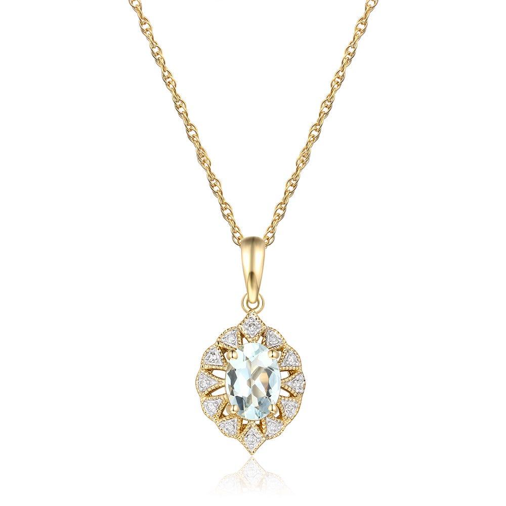 Oval Aquamarine & Diamond Pendant  in 10k Yellow Gold