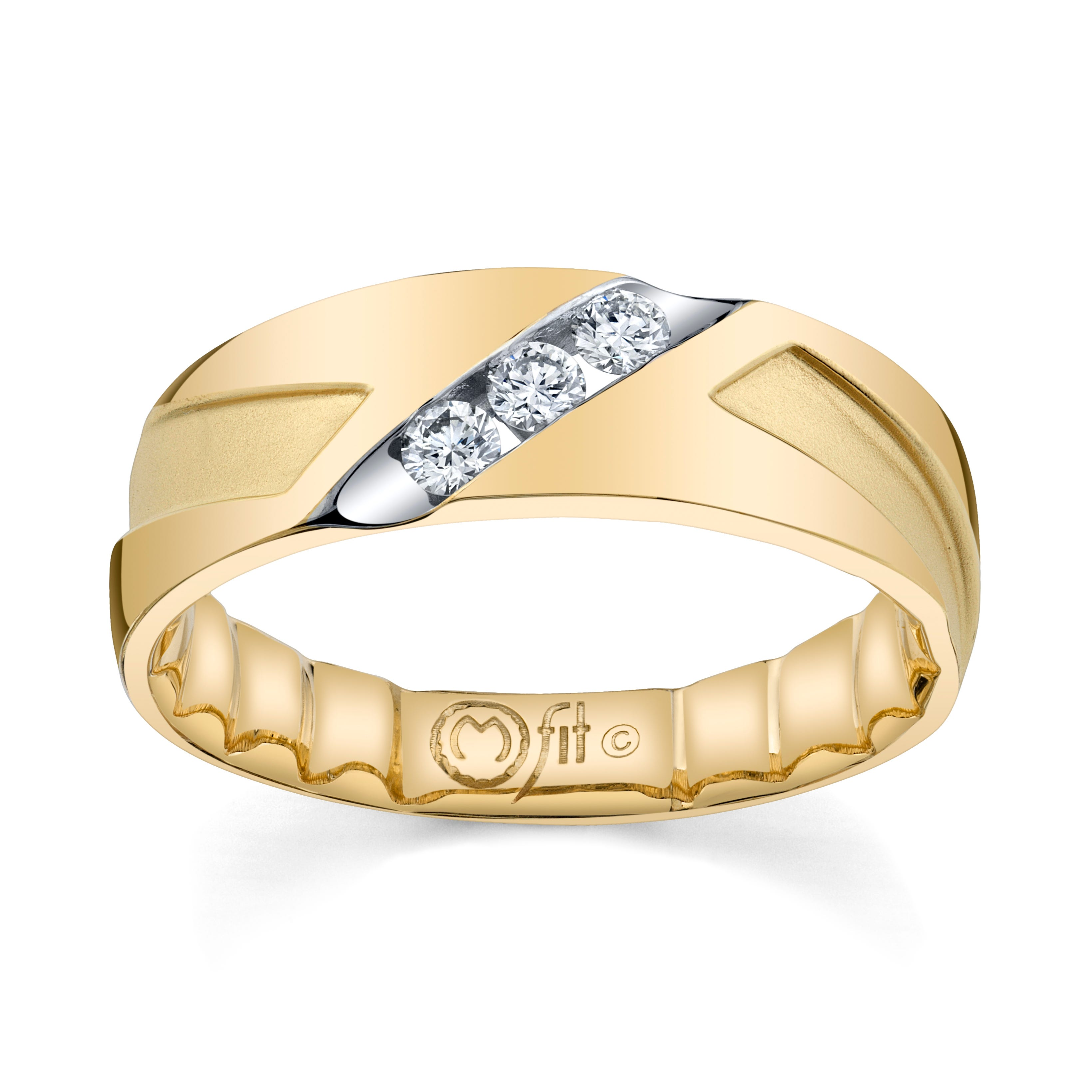 Men's MFIT Diamond 1/4ctw. Comfort Fit Band in 10k Yellow Gold