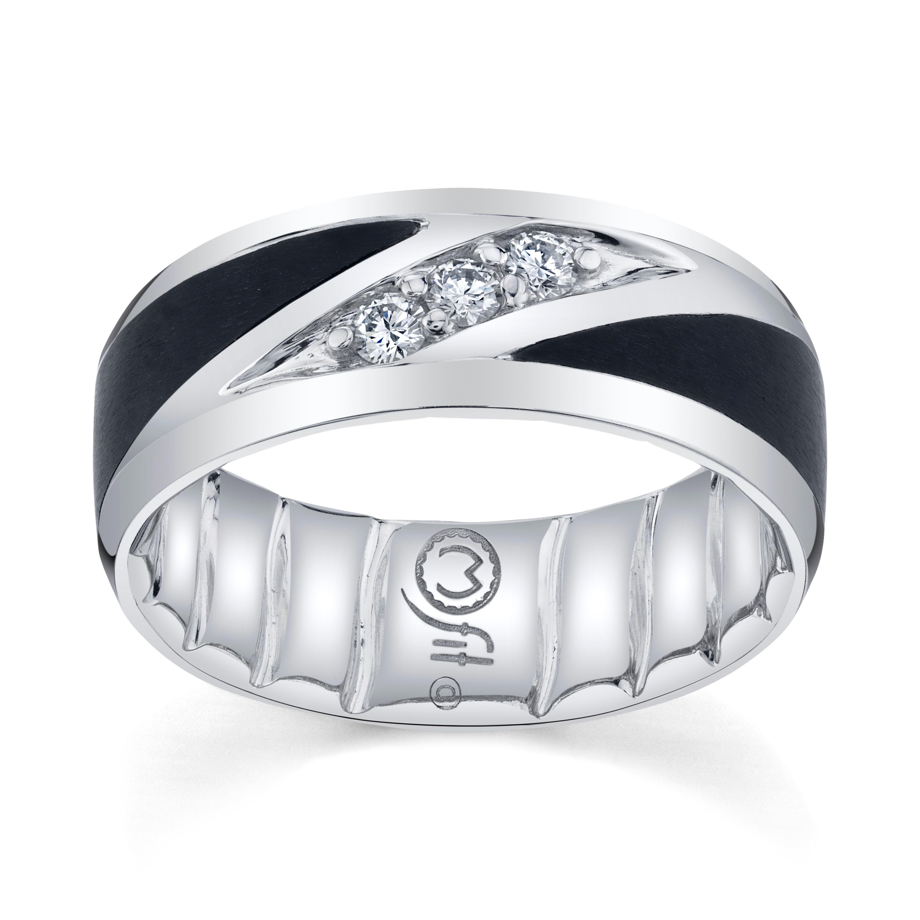 Comfort Fit Ring Classic Ring Diamond Wedding Band Couple Ring Gift Ring Modern Ring Round Black Ceramic Ring Stylish Ring