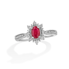 Oval Ruby Vintage Halo Ring in 10k White Gold