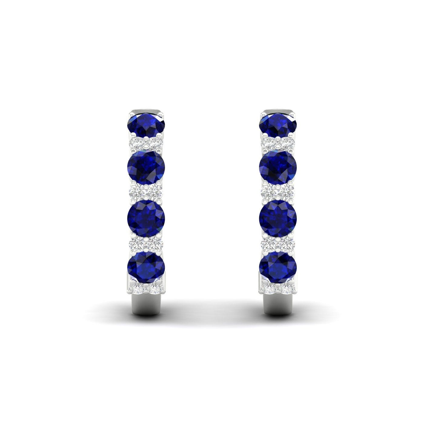 Blue Sapphire & Diamond Hoop Earrings in 10k White Gold