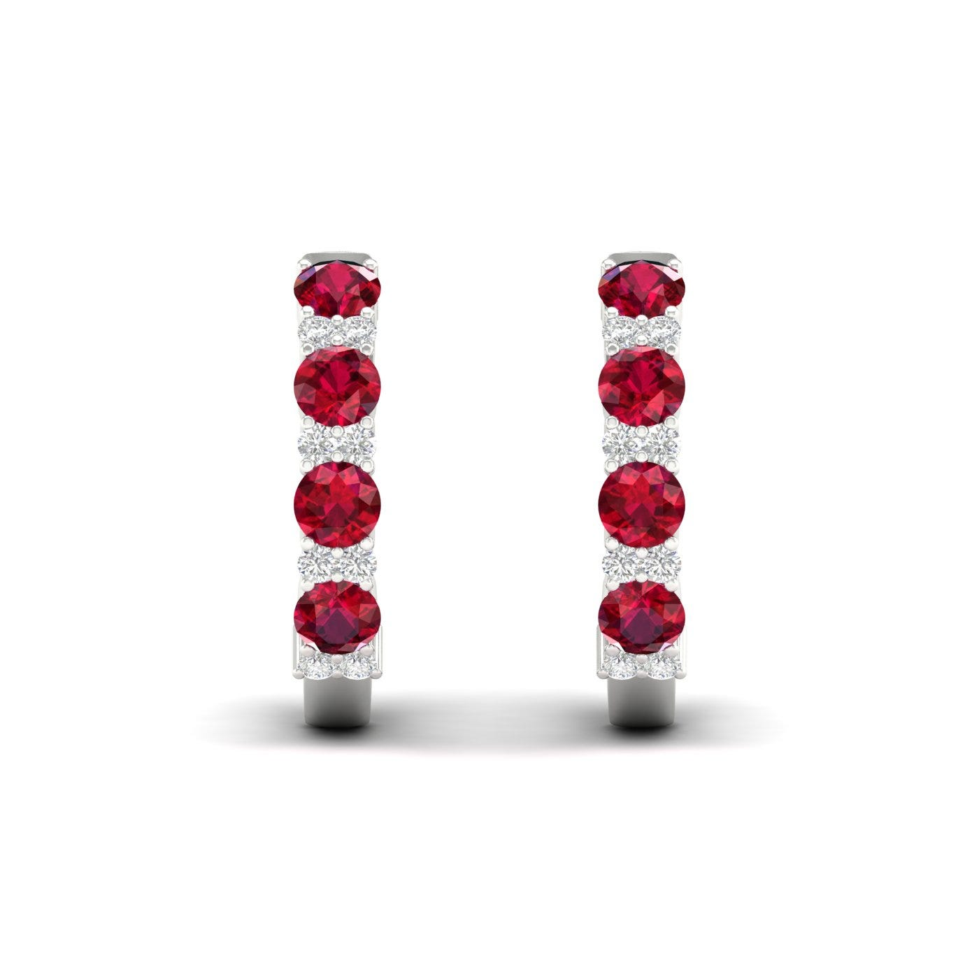 Ruby & Diamond Hoop Earrings in 10k White Gold