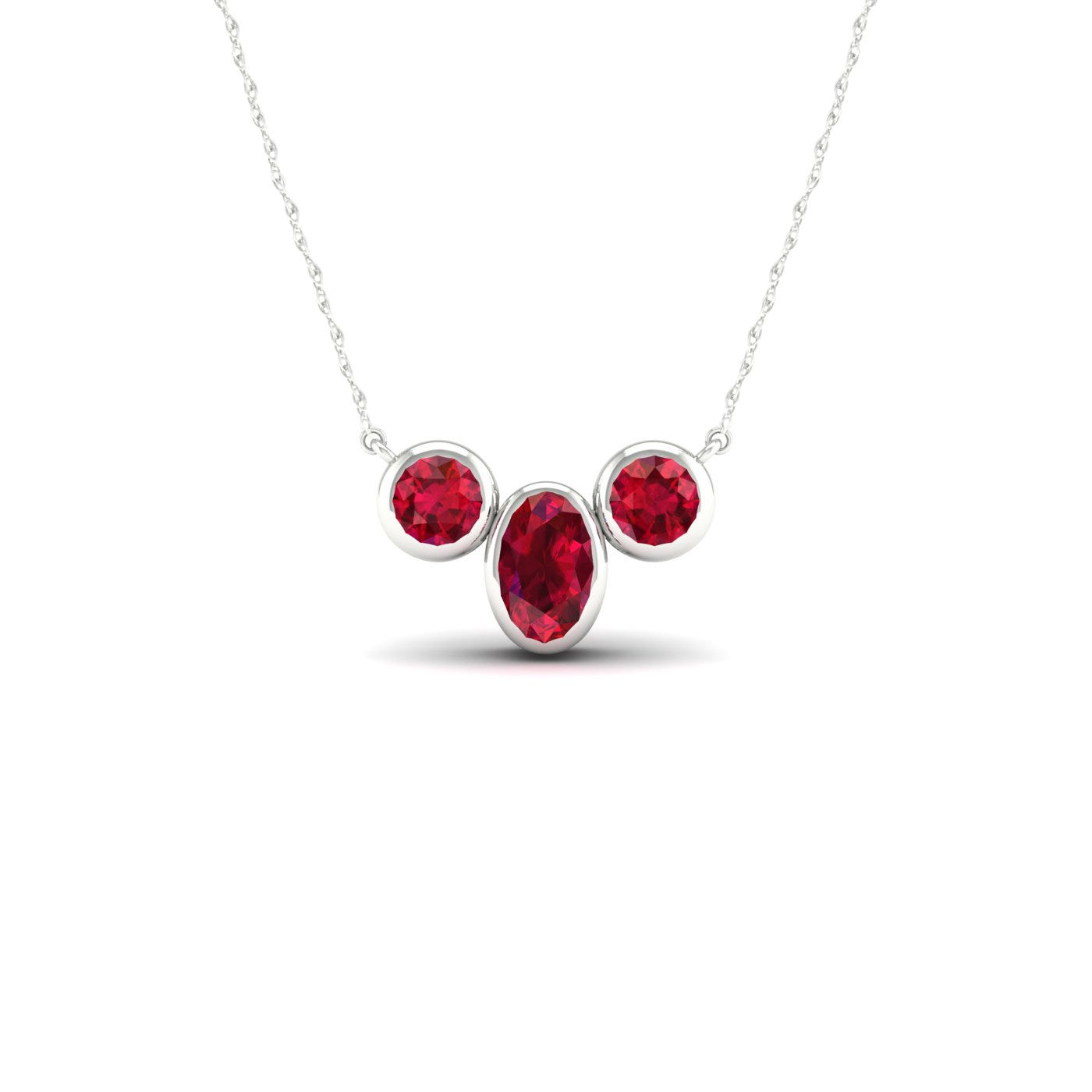Oval & Round Bezel Ruby Necklace in 10k White Gold