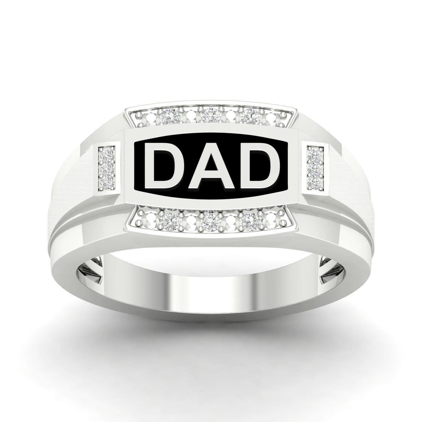 Gents Black Enamel & Diamond Dad Ring in 10k White Gold