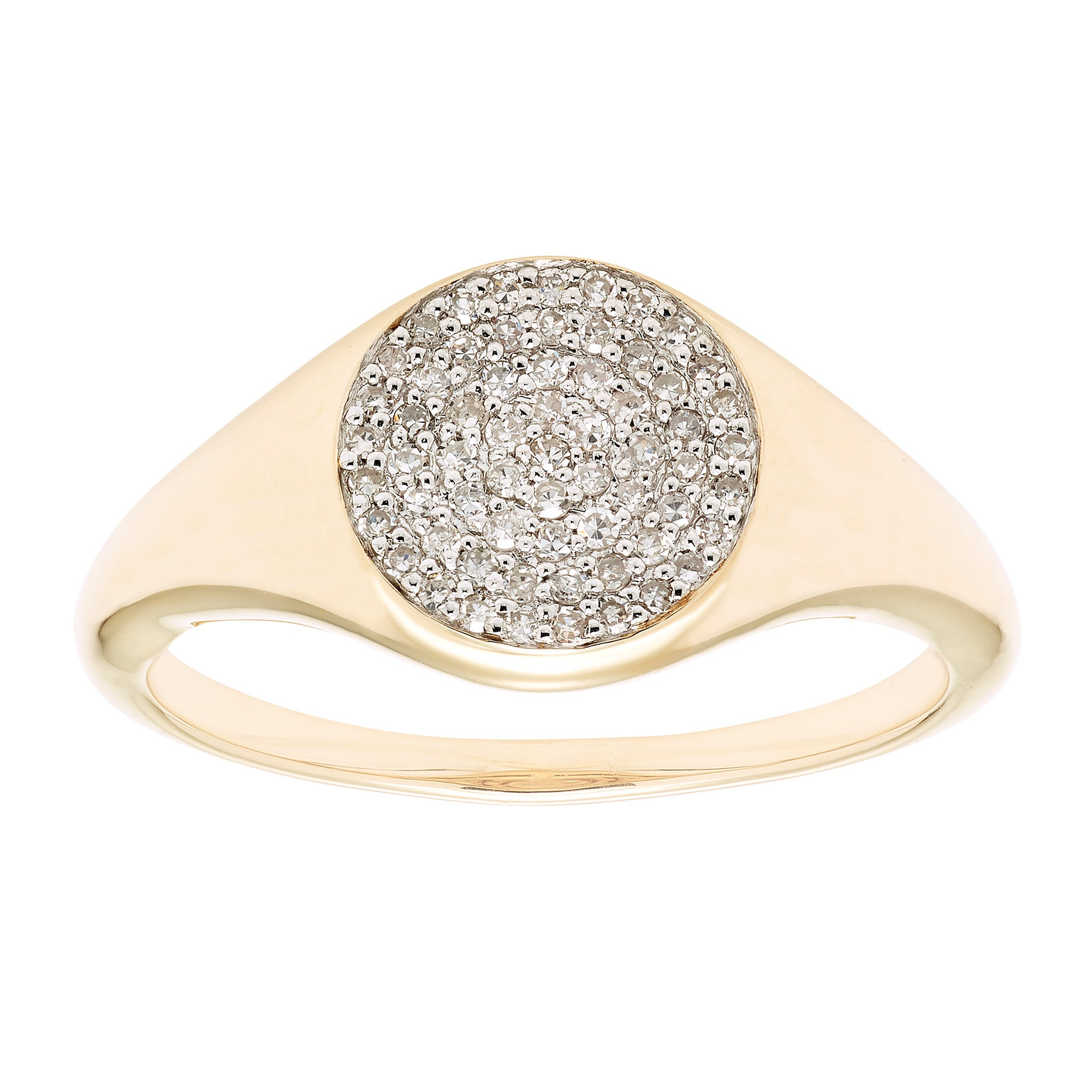 Diamond Pave Signet Ring 1/5ctw. in 14k Yellow Gold