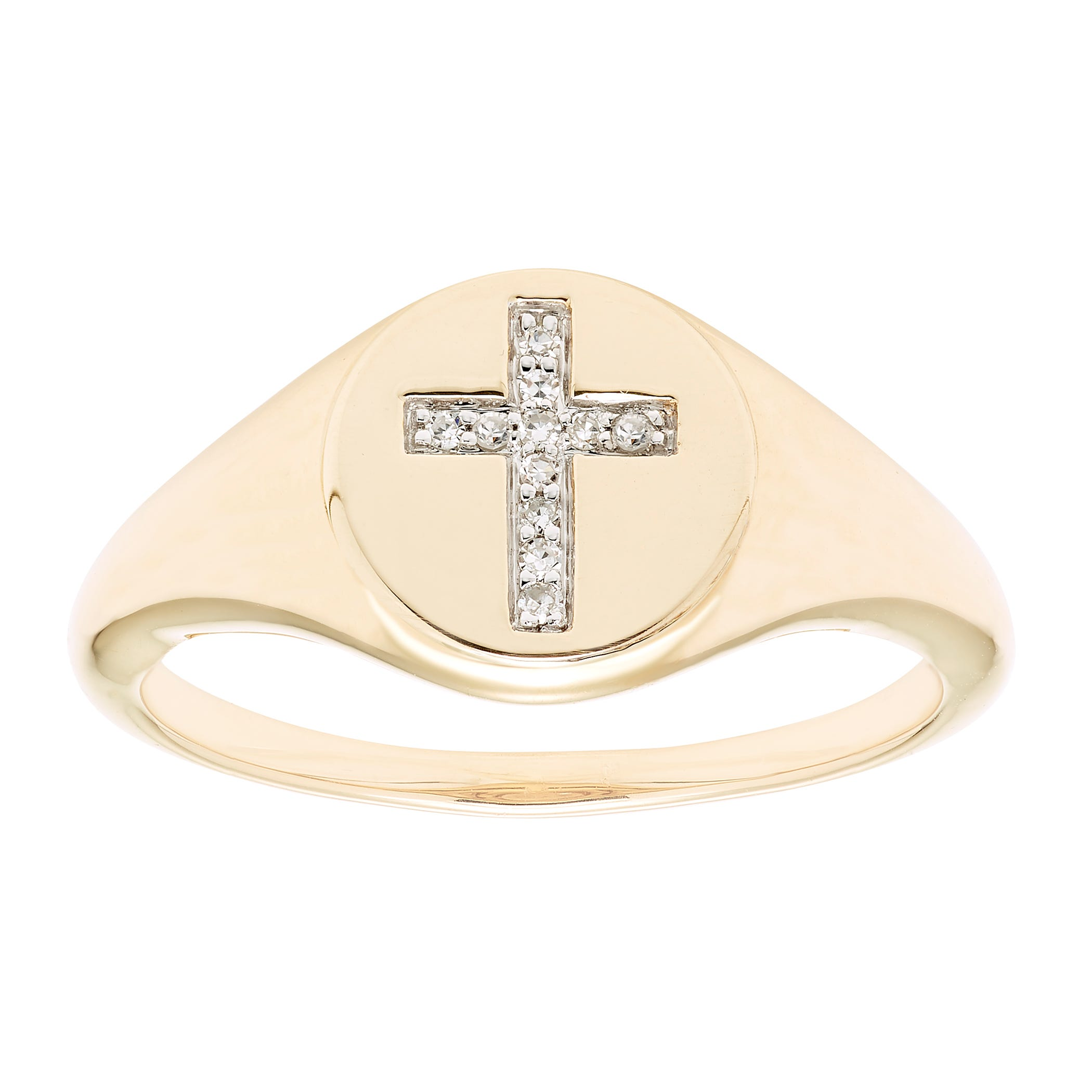Diamond Cross Signet Ring in 14k Yellow Gold